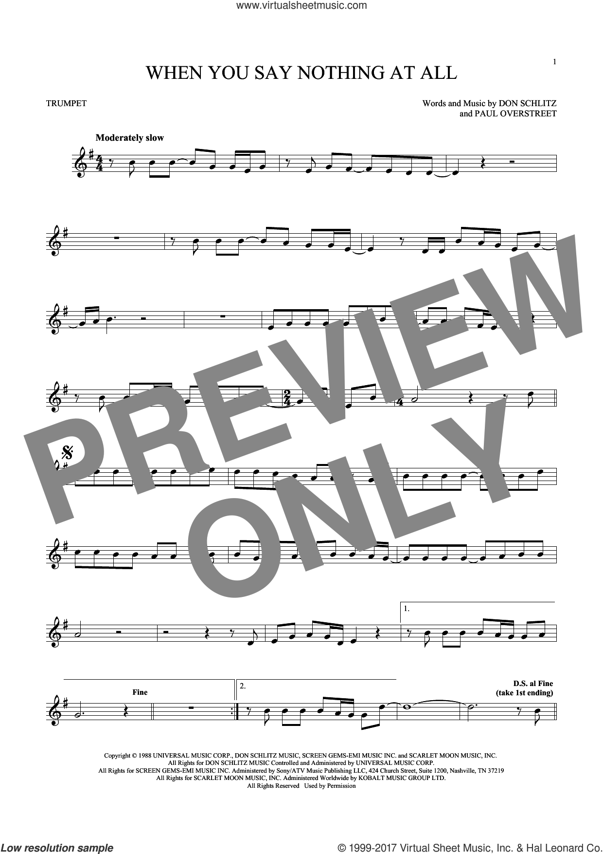 When You Say Nothing At All sheet music for trumpet solo by Alison Krauss & Union Station, Keith Whitley, Don Schlitz and Paul Overstreet, wedding score, intermediate skill level