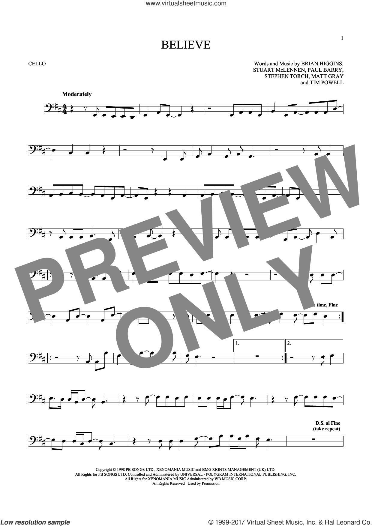 Believe sheet music for cello solo by Cher, Brian Higgins, Matt Gray, Paul Barry, Stephen Torch, Stuart McLennen and Timothy Powell, intermediate