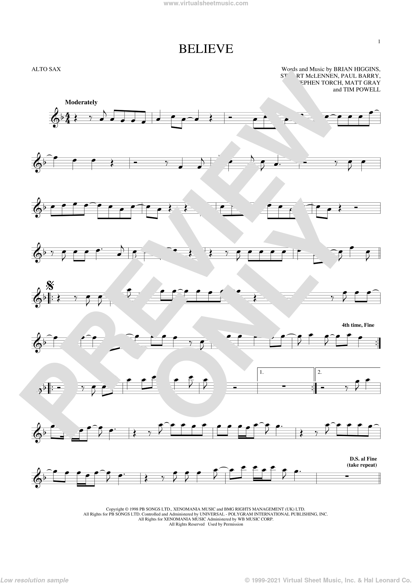 Believe sheet music for alto saxophone solo by Cher, Brian Higgins, Matt Gray, Paul Barry, Stephen Torch, Stuart McLennen and Timothy Powell, intermediate skill level