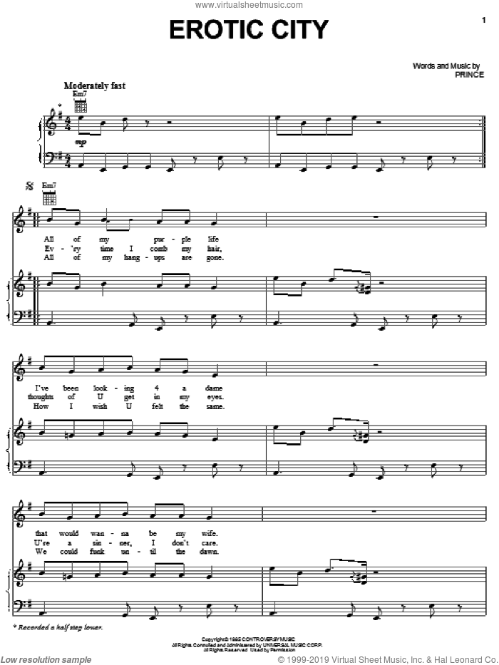 Erotic City sheet music for voice, piano or guitar by Prince, intermediate skill level