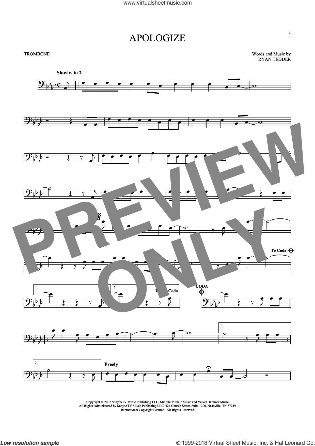Apologize sheet music for trombone solo by Timbaland featuring OneRepublic and Ryan Tedder, intermediate trombone. Score Image Preview.