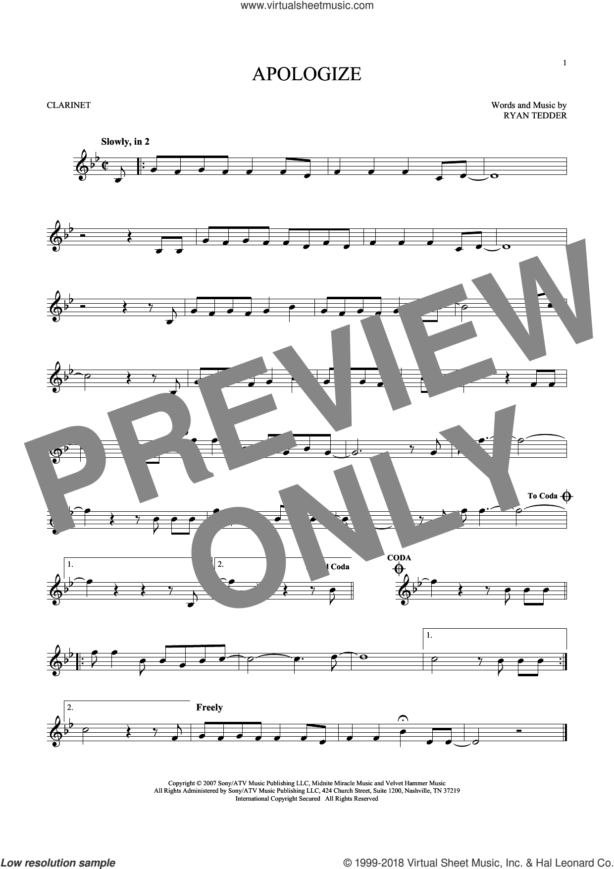 Apologize sheet music for clarinet solo by Timbaland featuring OneRepublic and Ryan Tedder, intermediate skill level