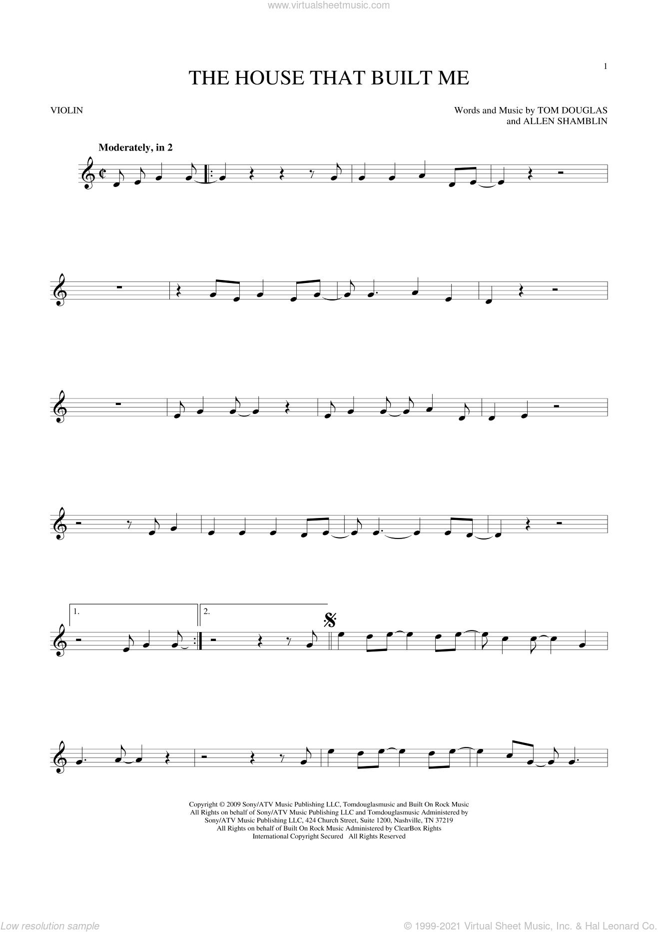 The House That Built Me sheet music for violin solo by Miranda Lambert, Allen Shamblin and Tom Douglas, intermediate skill level