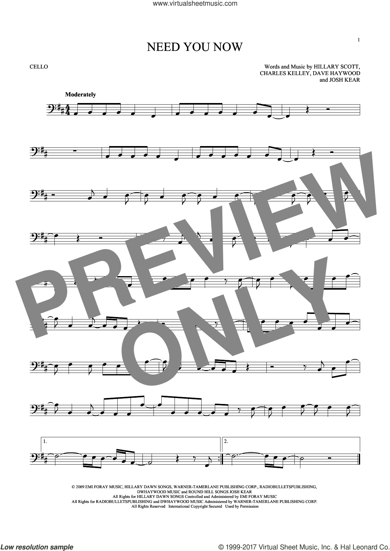 Need You Now sheet music for cello solo by Lady Antebellum, Charles Kelley, Dave Haywood, Hillary Scott and Josh Kear, intermediate skill level