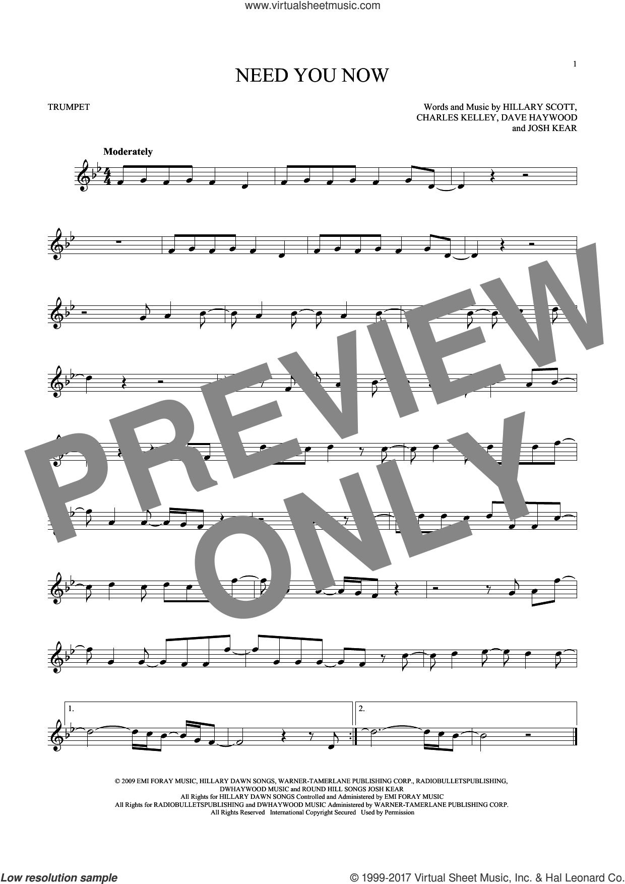 Need You Now sheet music for trumpet solo by Lady Antebellum, Charles Kelley, Dave Haywood, Hillary Scott and Josh Kear, intermediate skill level