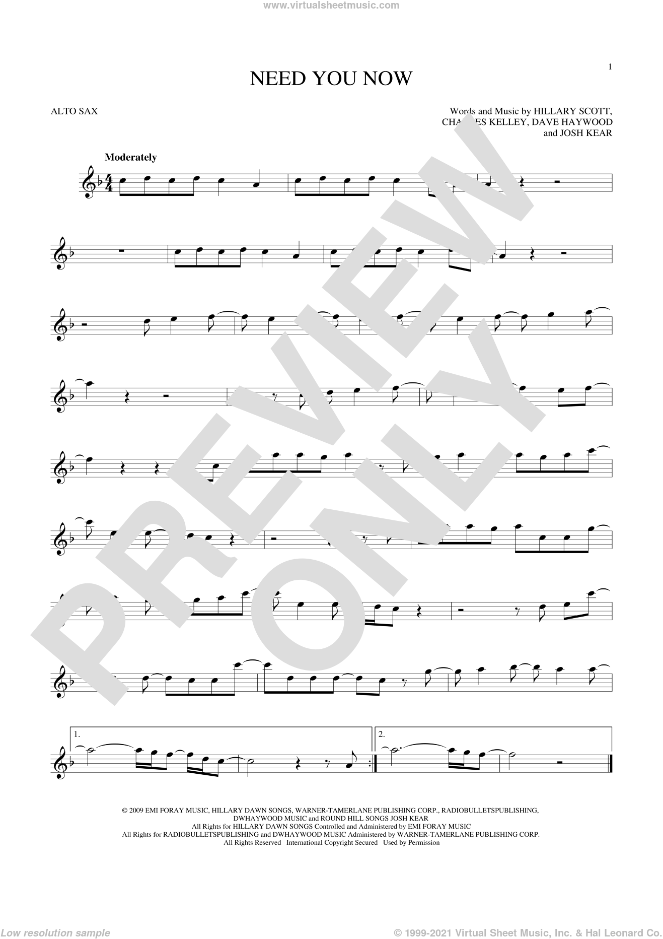 Need You Now sheet music for alto saxophone solo by Lady Antebellum, Charles Kelley, Dave Haywood, Hillary Scott and Josh Kear, intermediate skill level