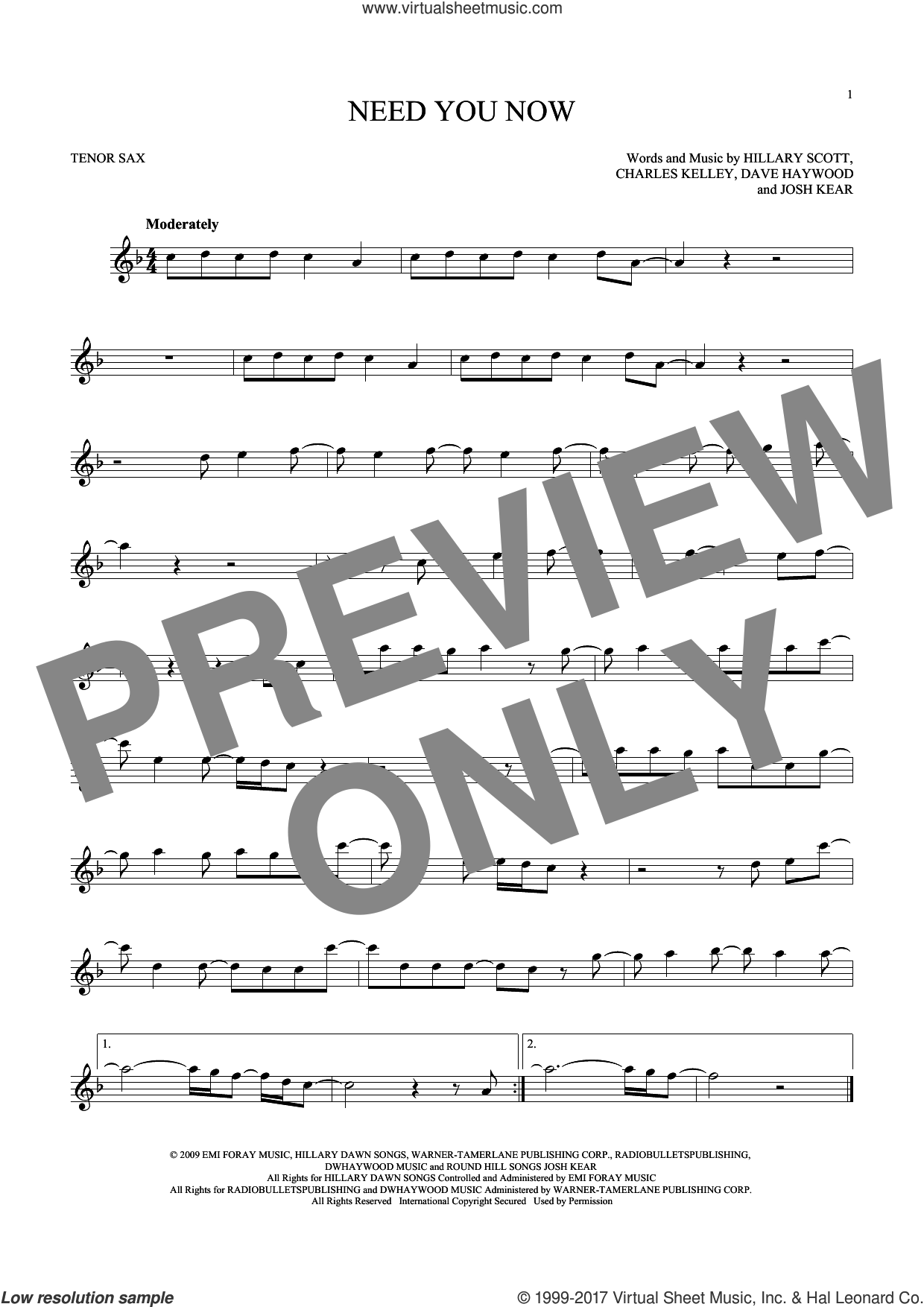Need You Now sheet music for tenor saxophone solo by Lady Antebellum, Charles Kelley, Dave Haywood, Hillary Scott and Josh Kear, intermediate skill level