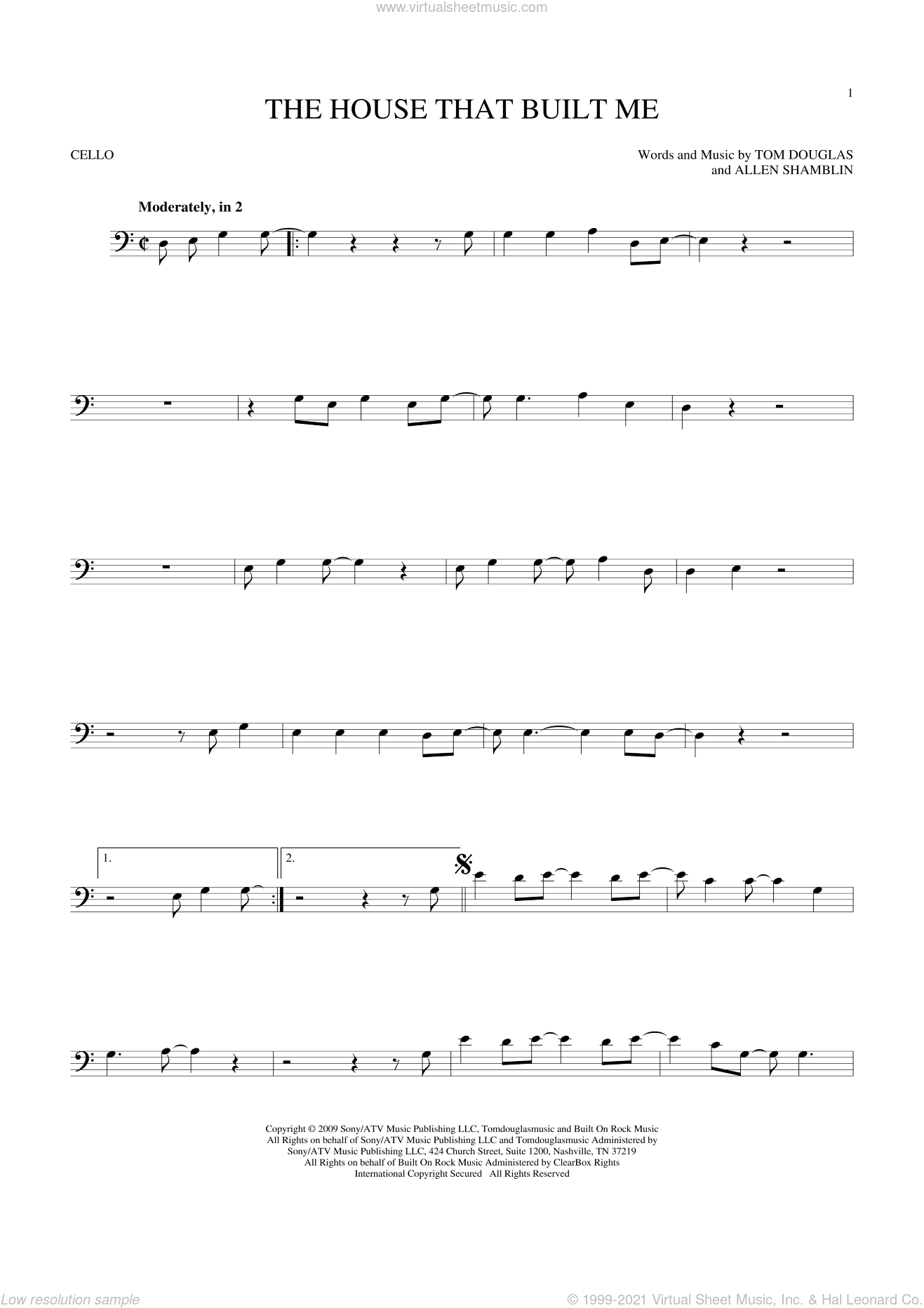 The House That Built Me sheet music for cello solo by Miranda Lambert, Allen Shamblin and Tom Douglas, intermediate skill level