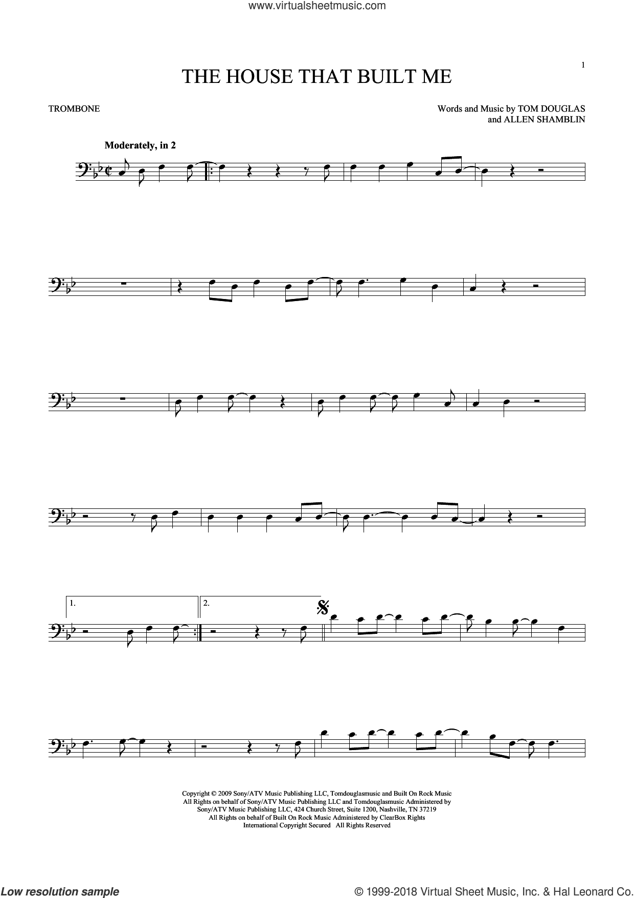 The House That Built Me sheet music for trombone solo by Miranda Lambert, Allen Shamblin and Tom Douglas, intermediate trombone. Score Image Preview.