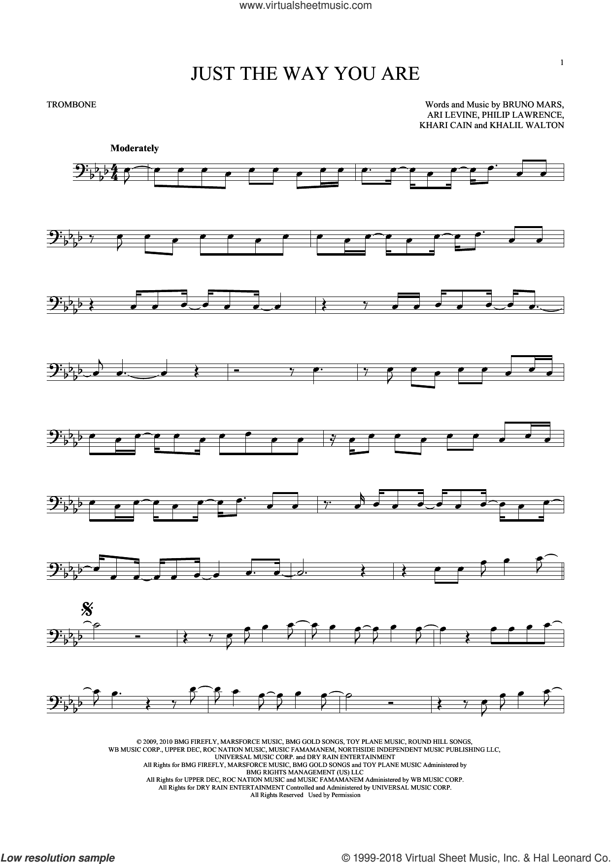 Just The Way You Are sheet music for trombone solo by Bruno Mars, Ari Levine, Khalil Walton, Khari Cain and Philip Lawrence, intermediate skill level
