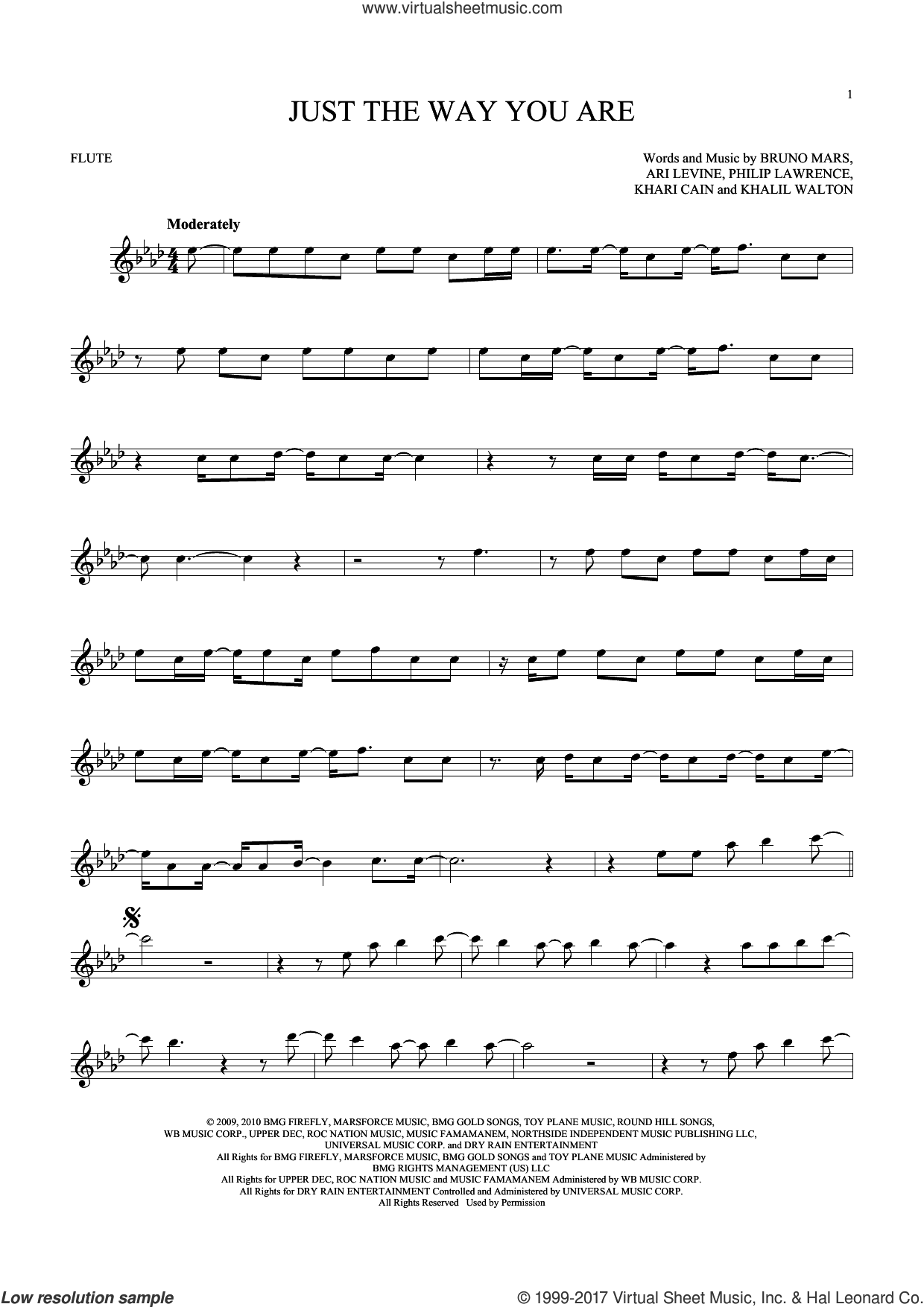 Just The Way You Are sheet music for flute solo by Bruno Mars, Ari Levine, Khalil Walton, Khari Cain and Philip Lawrence, intermediate skill level