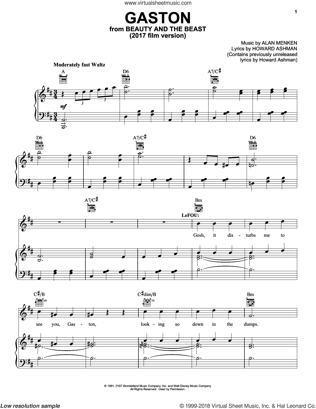 Gaston sheet music for voice, piano or guitar by Beauty and the Beast Cast, Alan Menken and Howard Ashman, intermediate. Score Image Preview.