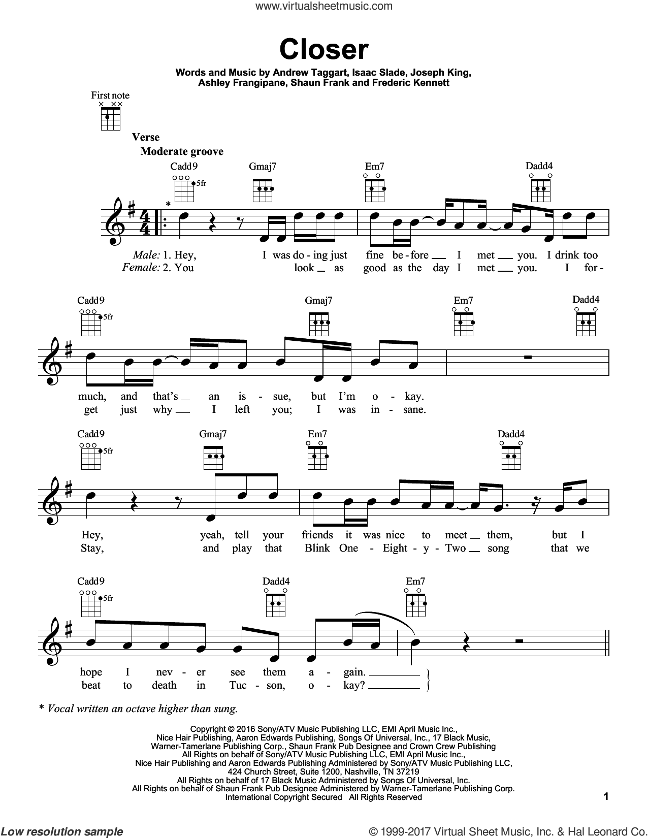 Closer sheet music for ukulele by The Chainsmokers feat. Halsey, intermediate. Score Image Preview.