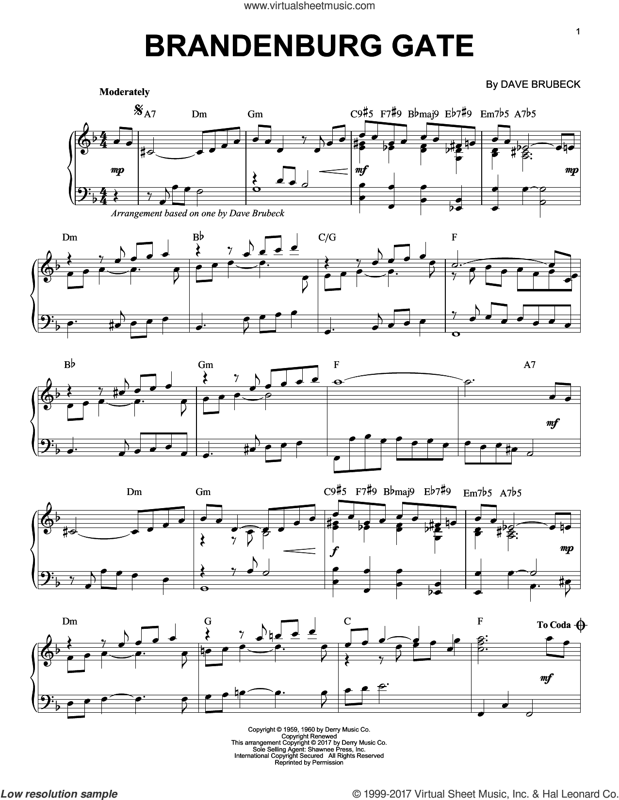 Brandenburg Gate sheet music for piano solo by Dave Brubeck, intermediate piano. Score Image Preview.