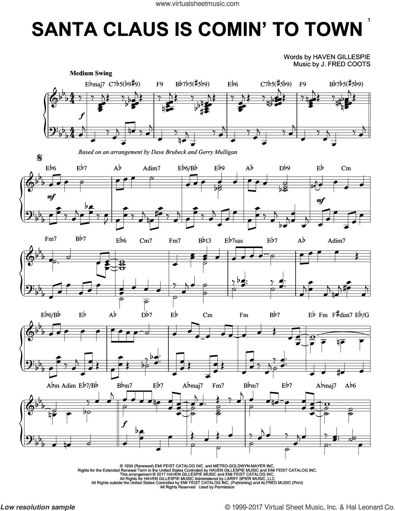 Santa Claus Is Comin' To Town sheet music for piano solo by Dave Brubeck and J. Fred Coots, Christmas carol score, intermediate piano. Score Image Preview.