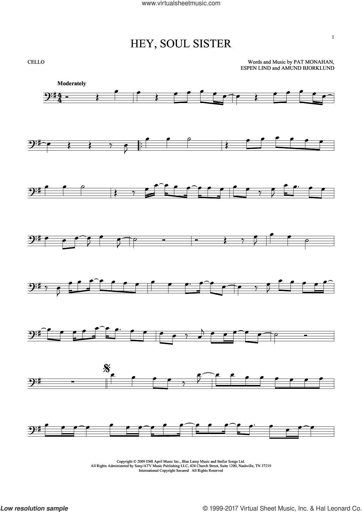 Hey, Soul Sister sheet music for cello solo by Train, Amund Bjorklund, Espen Lind and Pat Monahan, intermediate skill level