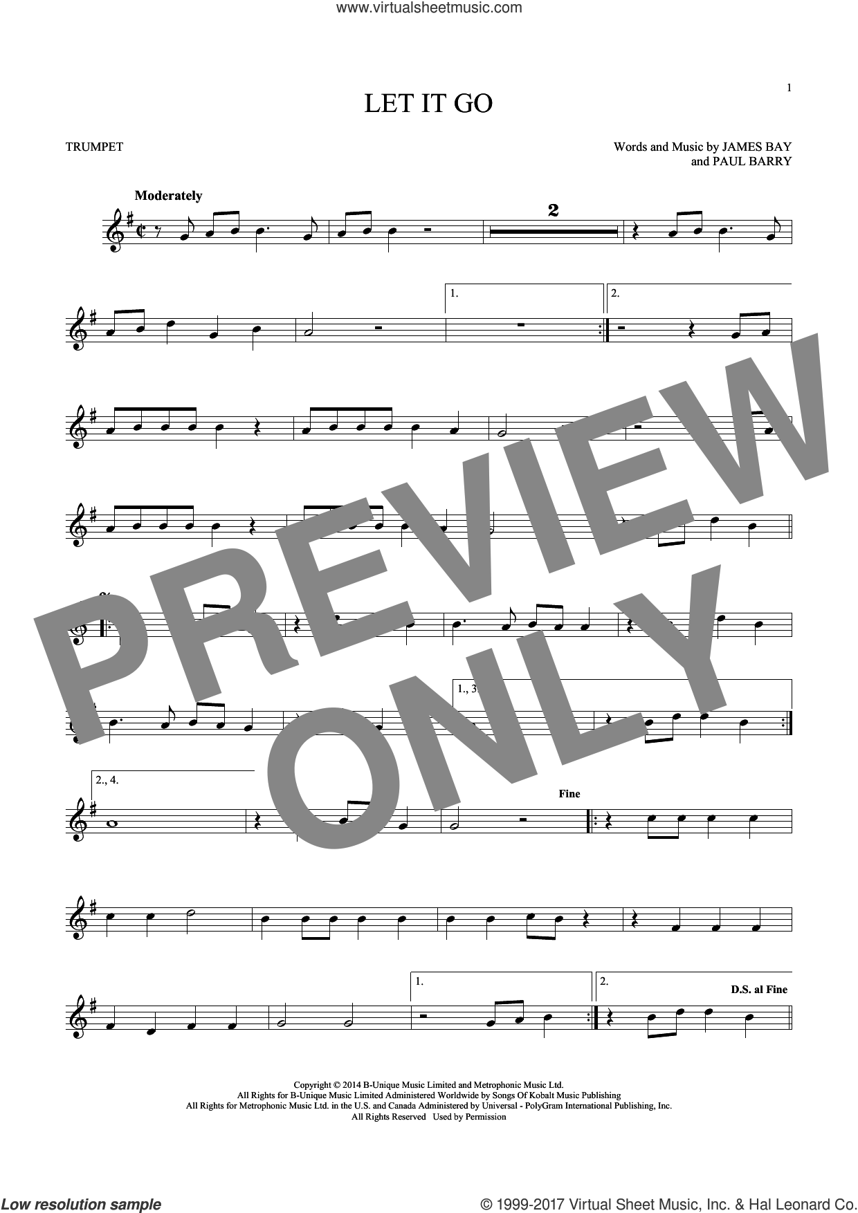 Let It Go sheet music for trumpet solo by James Bay and Paul Barry, intermediate skill level