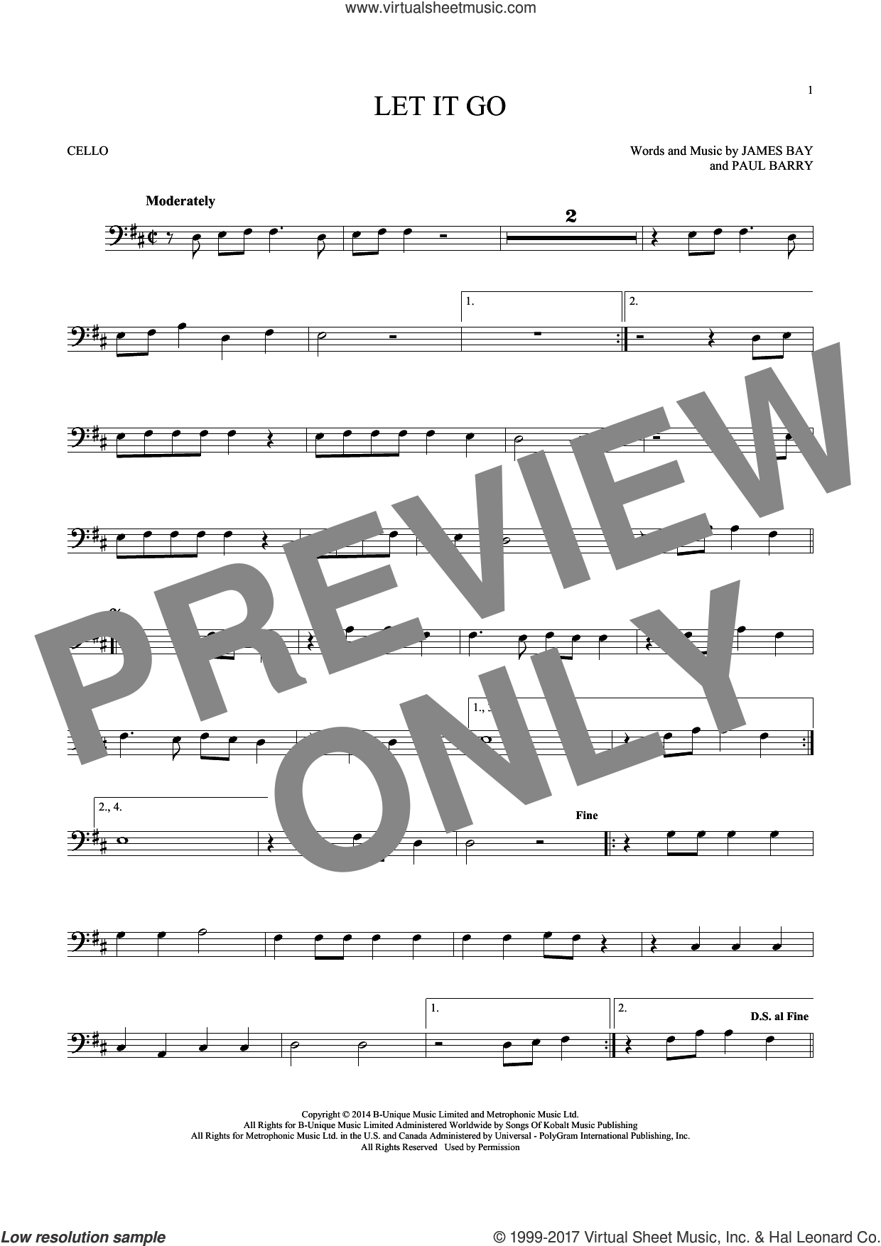 Let It Go sheet music for cello solo by James Bay and Paul Barry, intermediate