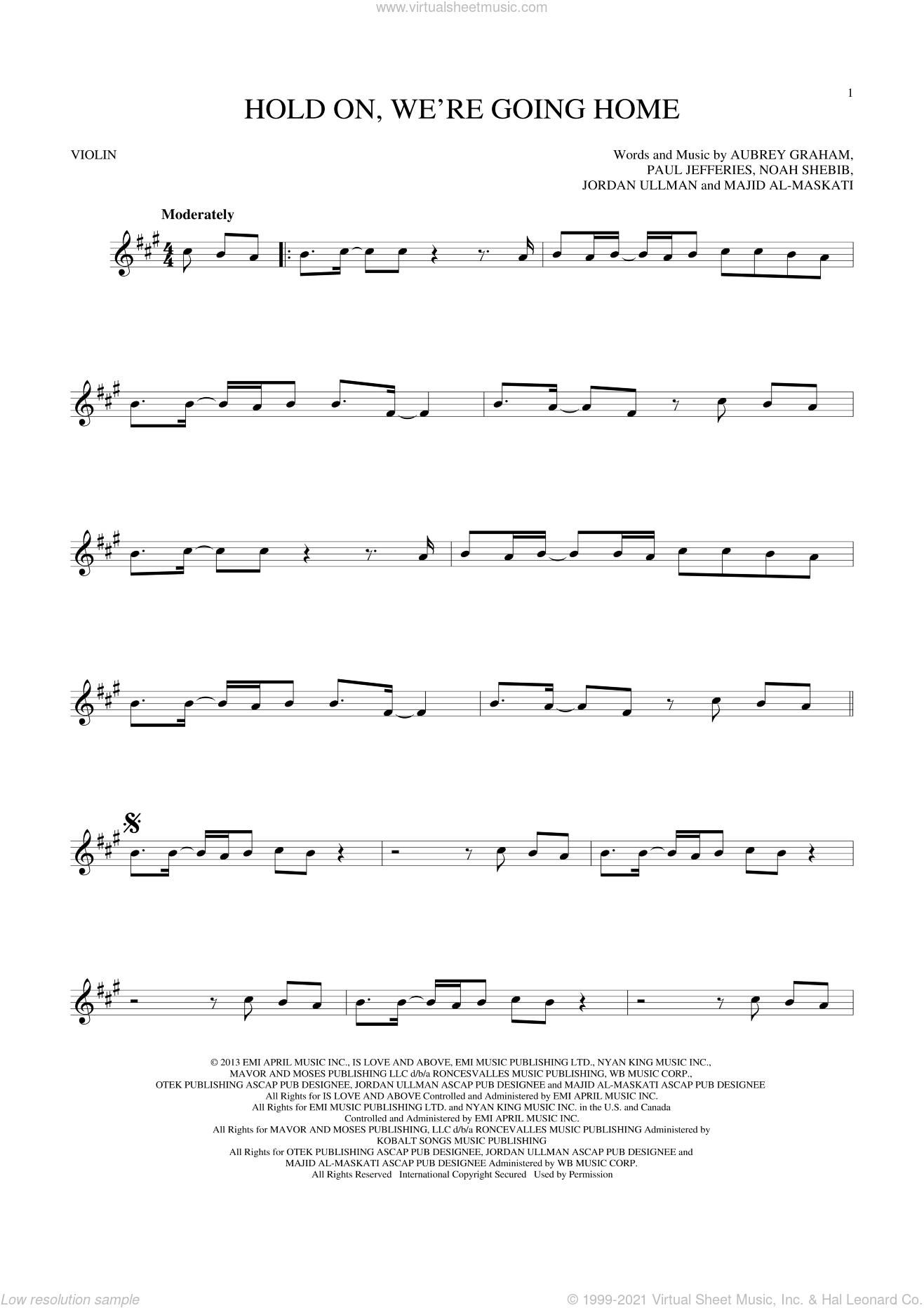 Hold On, We're Going Home sheet music for violin solo by Drake, Aubrey Graham, Jordan Ullman, Majid Al-Maskati, Noah Shebib and Paul Jefferies, intermediate skill level