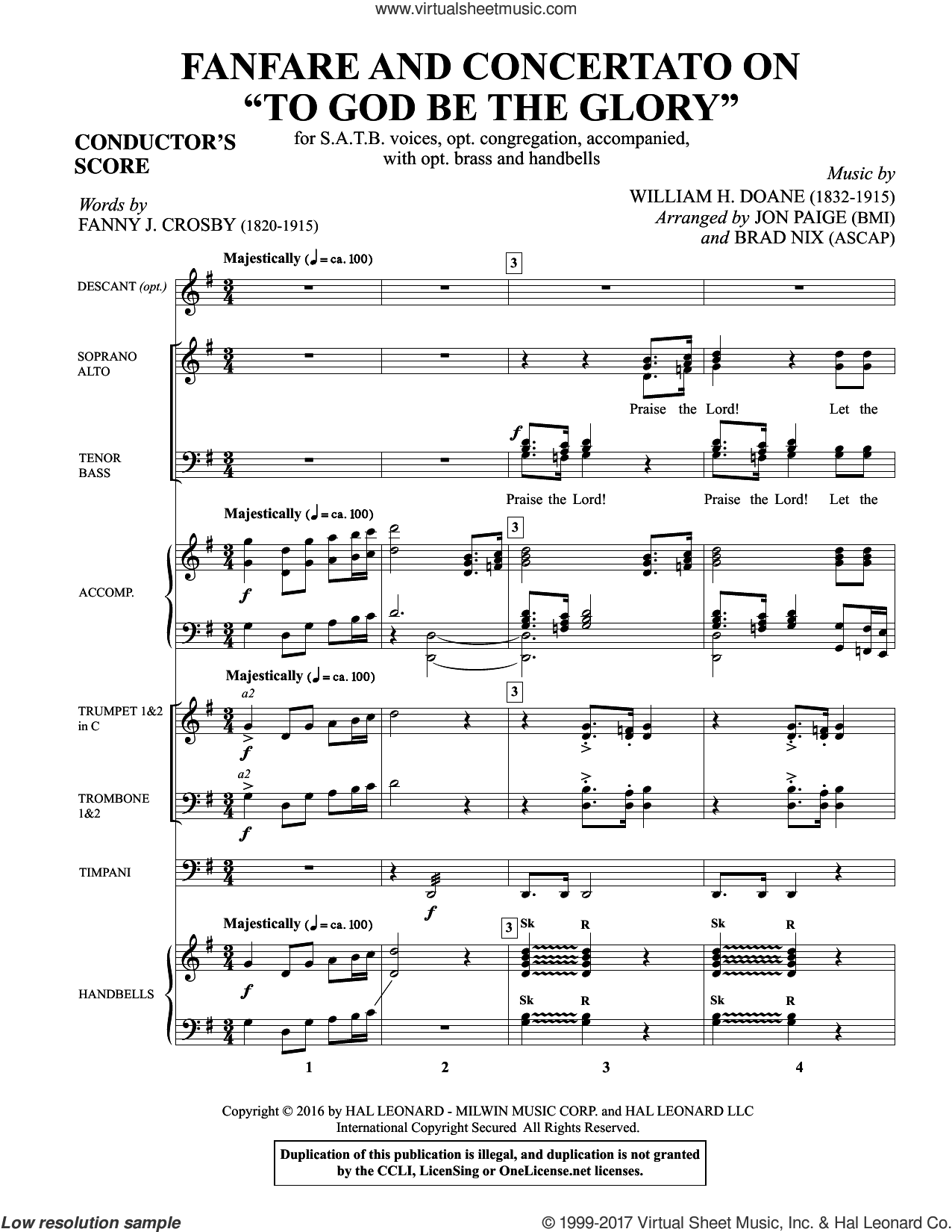 Fanfare and Concertato on 'To God Be the Glory' (COMPLETE) sheet music for orchestra/band by Brad Nix, Fanny J. Crosby, Jon Paige (arr.) and William H. Doane, intermediate skill level