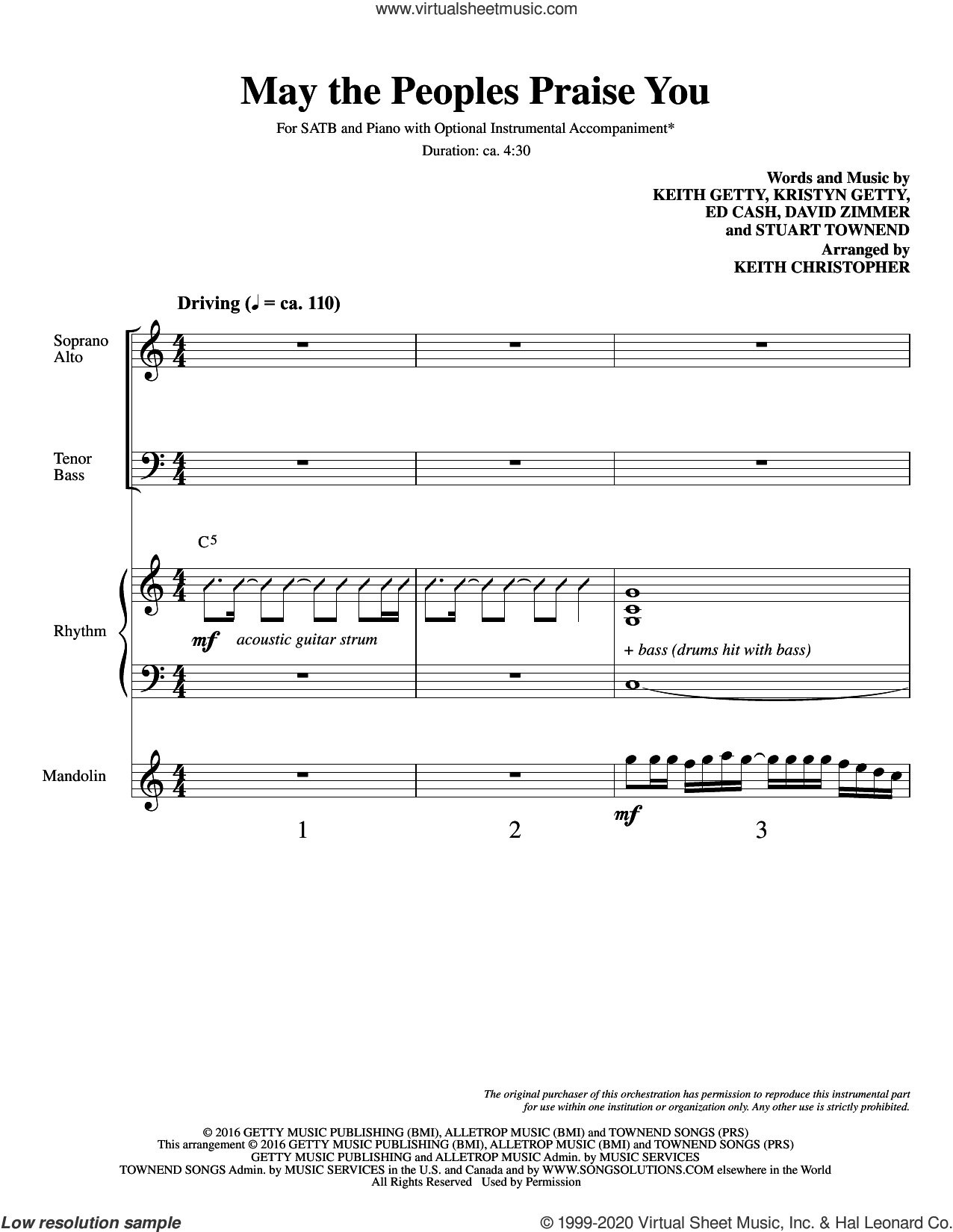 May the Peoples Praise You (COMPLETE) sheet music for orchestra/band by Keith Christopher, David Zimmer, Ed Cash, Keith & Kristyn Getty, Keith Getty, Kristyn Getty and Stuart Townend, intermediate skill level
