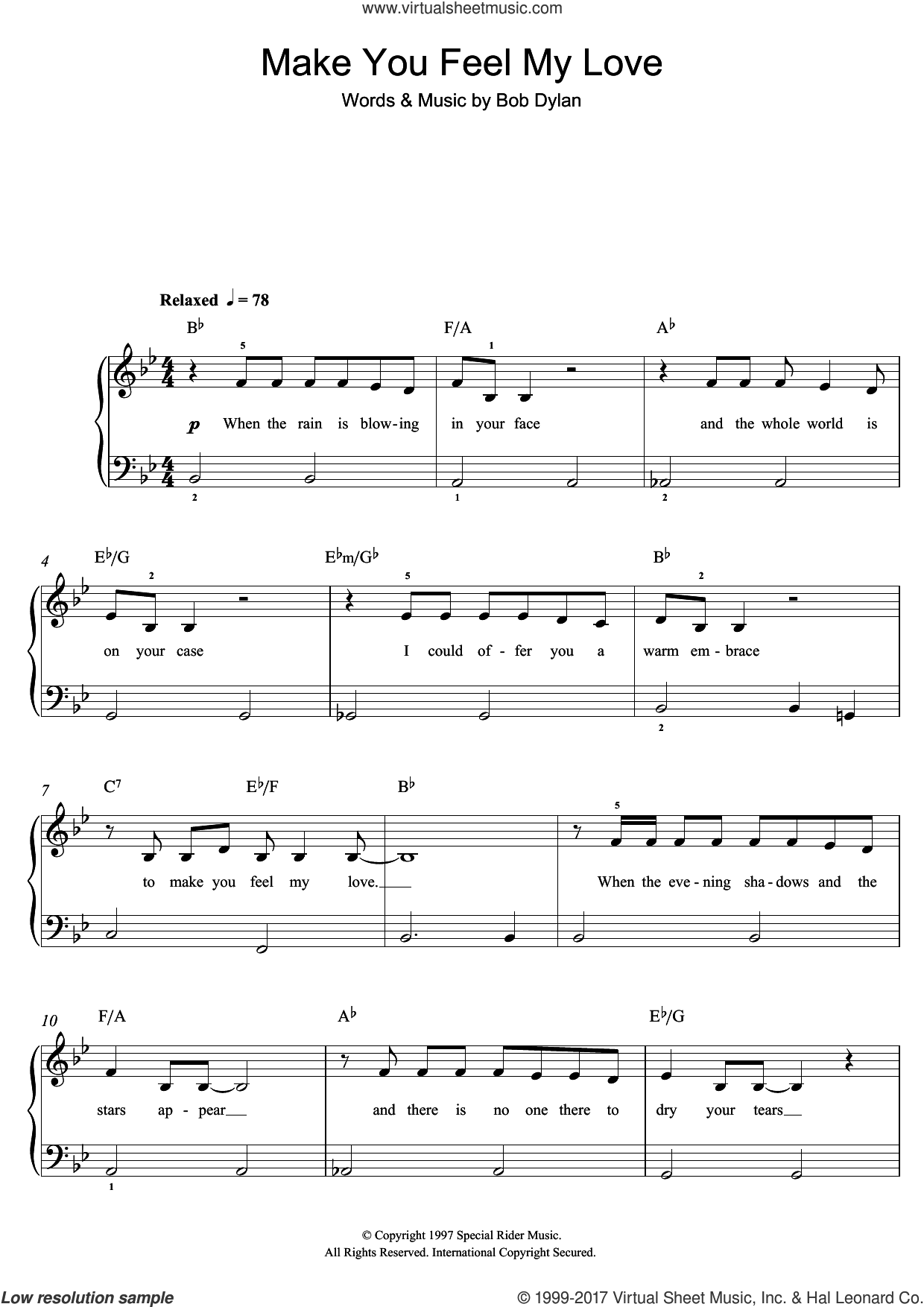 Make You Feel My Love sheet music for piano solo (beginners) by Bob Dylan, beginner piano (beginners). Score Image Preview.