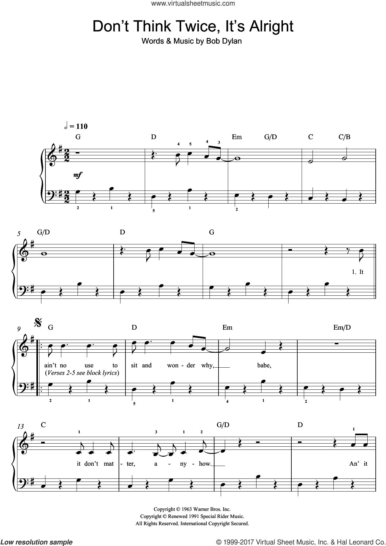 Don't Think Twice, It's All Right sheet music for piano solo (beginners) by Bob Dylan, beginner piano (beginners)