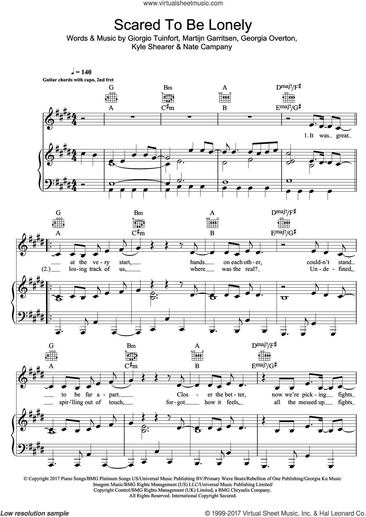 Scared To Be Lonely sheet music for voice, piano or guitar by Martin Garrix and Dua Lipa, intermediate skill level