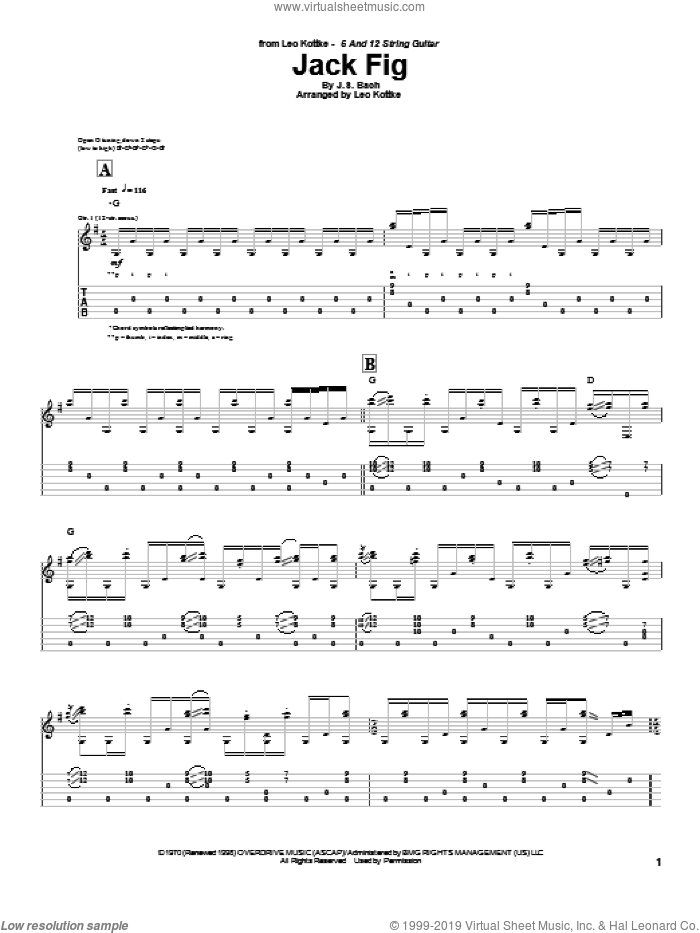Jack Fig sheet music for guitar (tablature) by Leo Kottke and Johann Sebastian Bach. Score Image Preview.