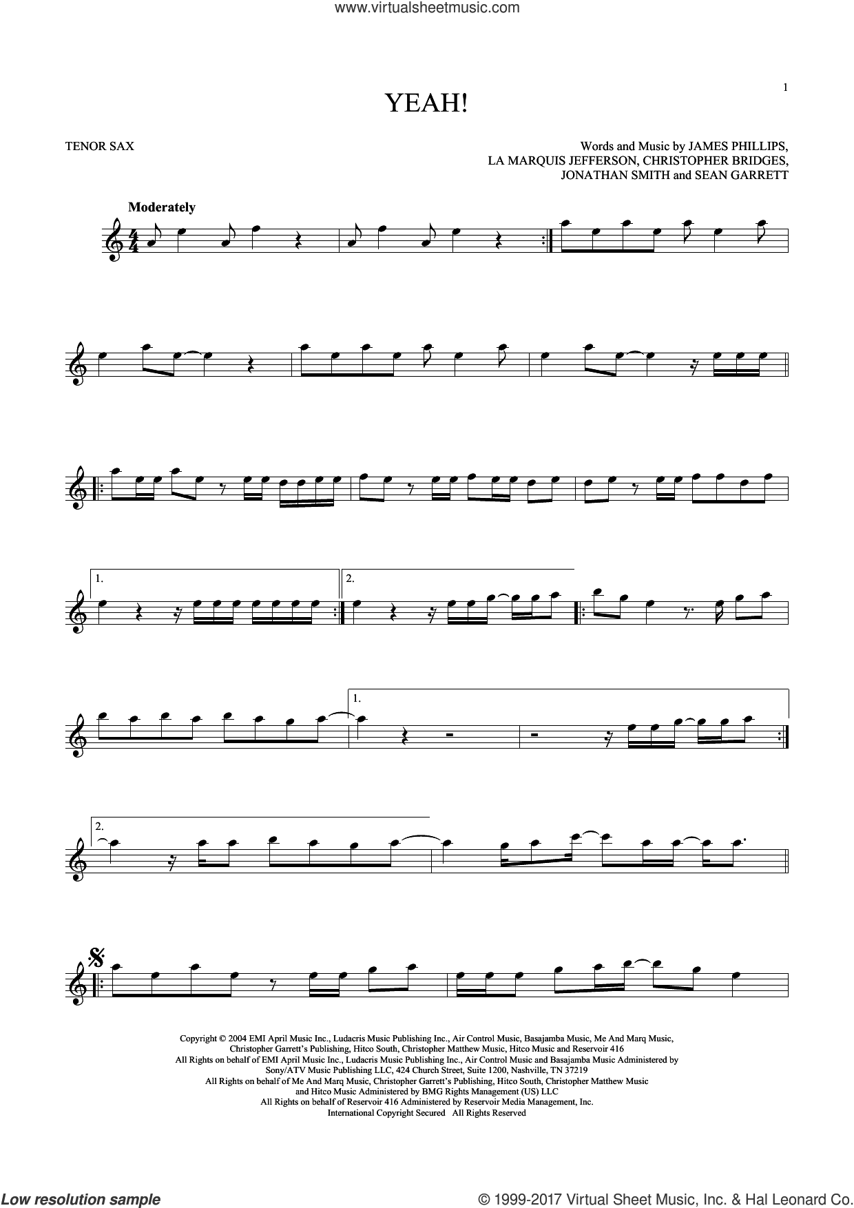 Yeah! sheet music for tenor saxophone solo by Usher featuring Lil Jon & Ludacris, Christopher Bridges, James Phillips, Jonathan Smith, La Marquis Jefferson, Laurence Smith and Sean Garrett, intermediate skill level