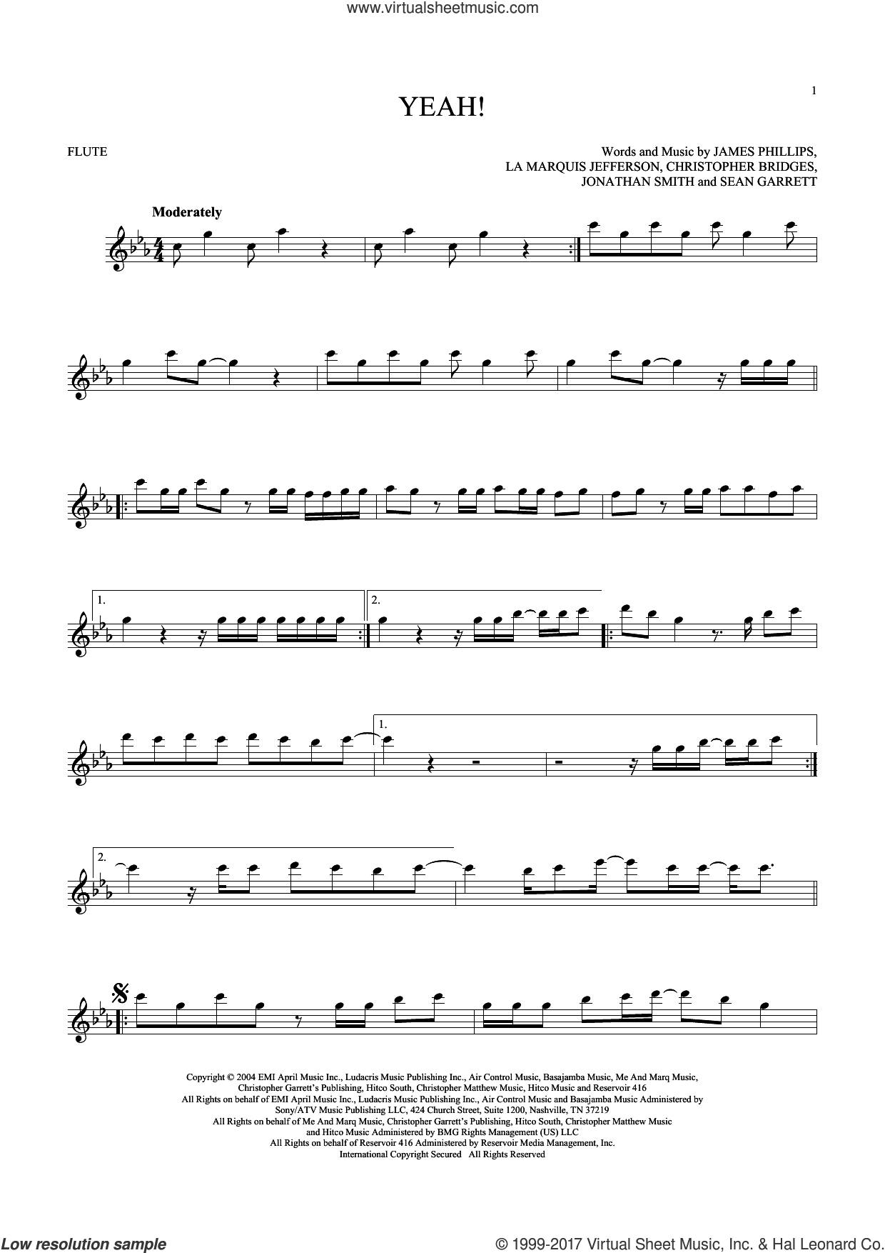 Yeah! sheet music for flute solo by Usher featuring Lil Jon & Ludacris and Christopher Bridges, intermediate. Score Image Preview.