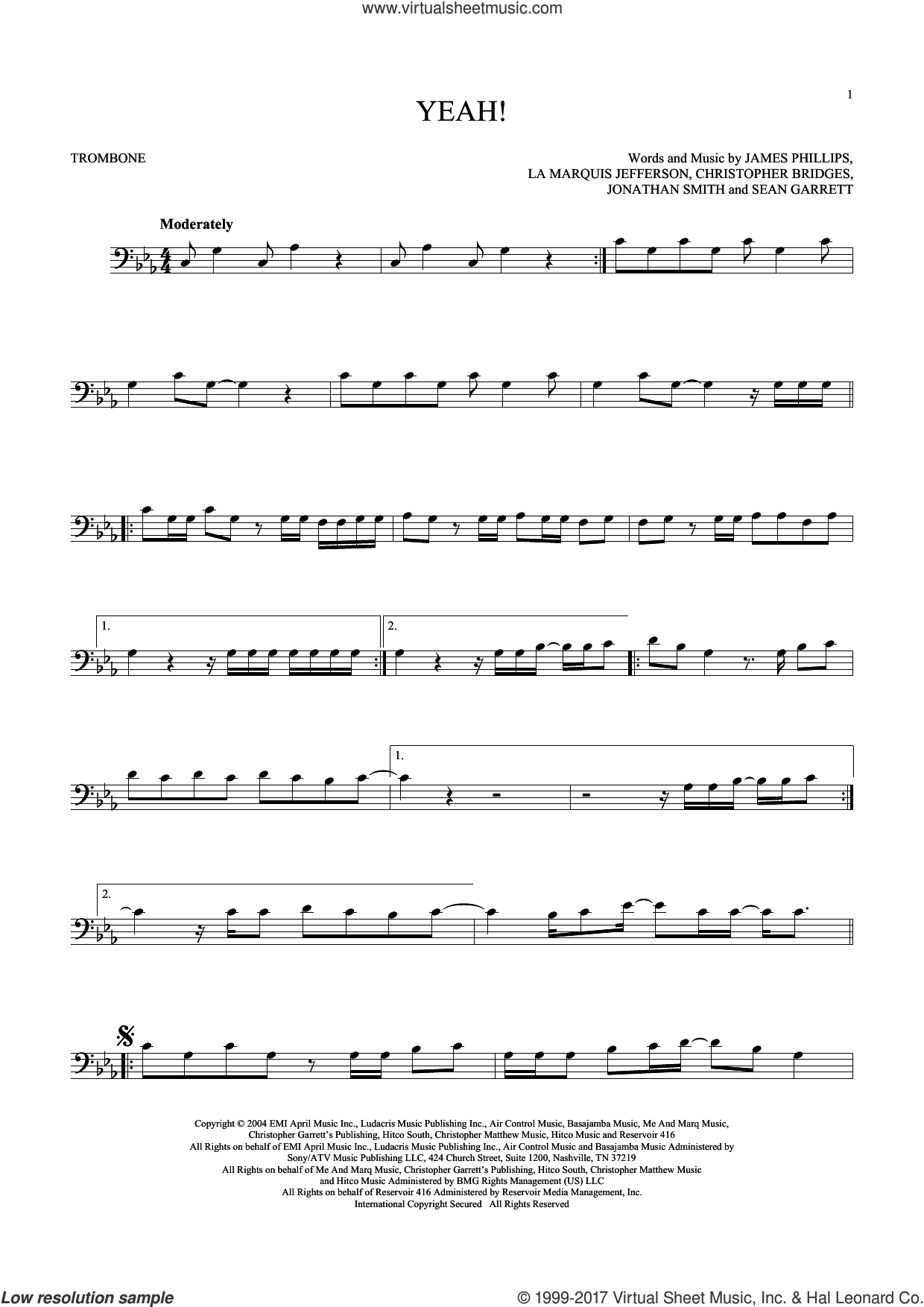 Yeah! sheet music for trombone solo by Usher featuring Lil Jon & Ludacris, Christopher Bridges, James Phillips, Jonathan Smith, La Marquis Jefferson, Laurence Smith and Sean Garrett, intermediate skill level