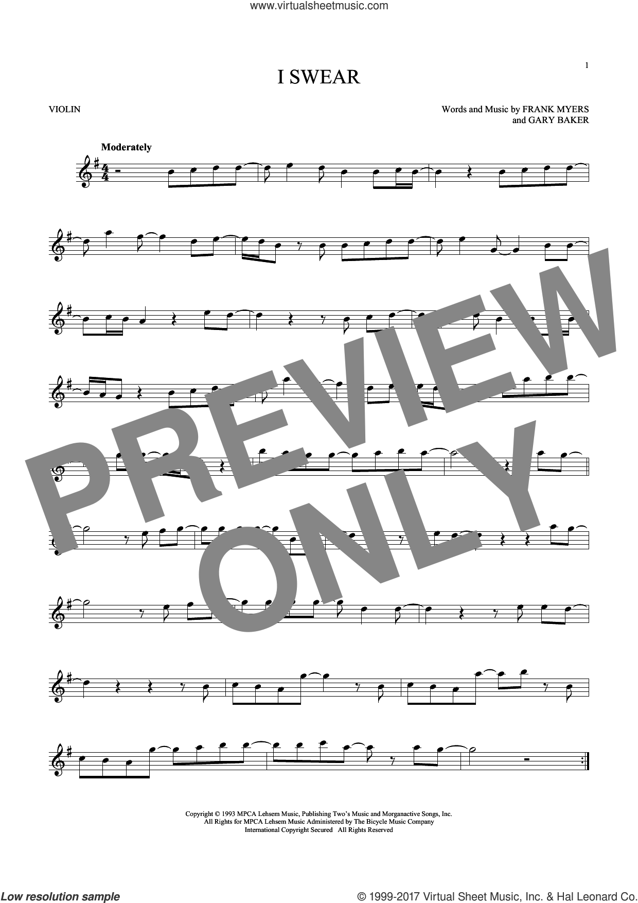 I Swear sheet music for violin solo by All-4-One, Frank Myers and Gary Baker, intermediate skill level
