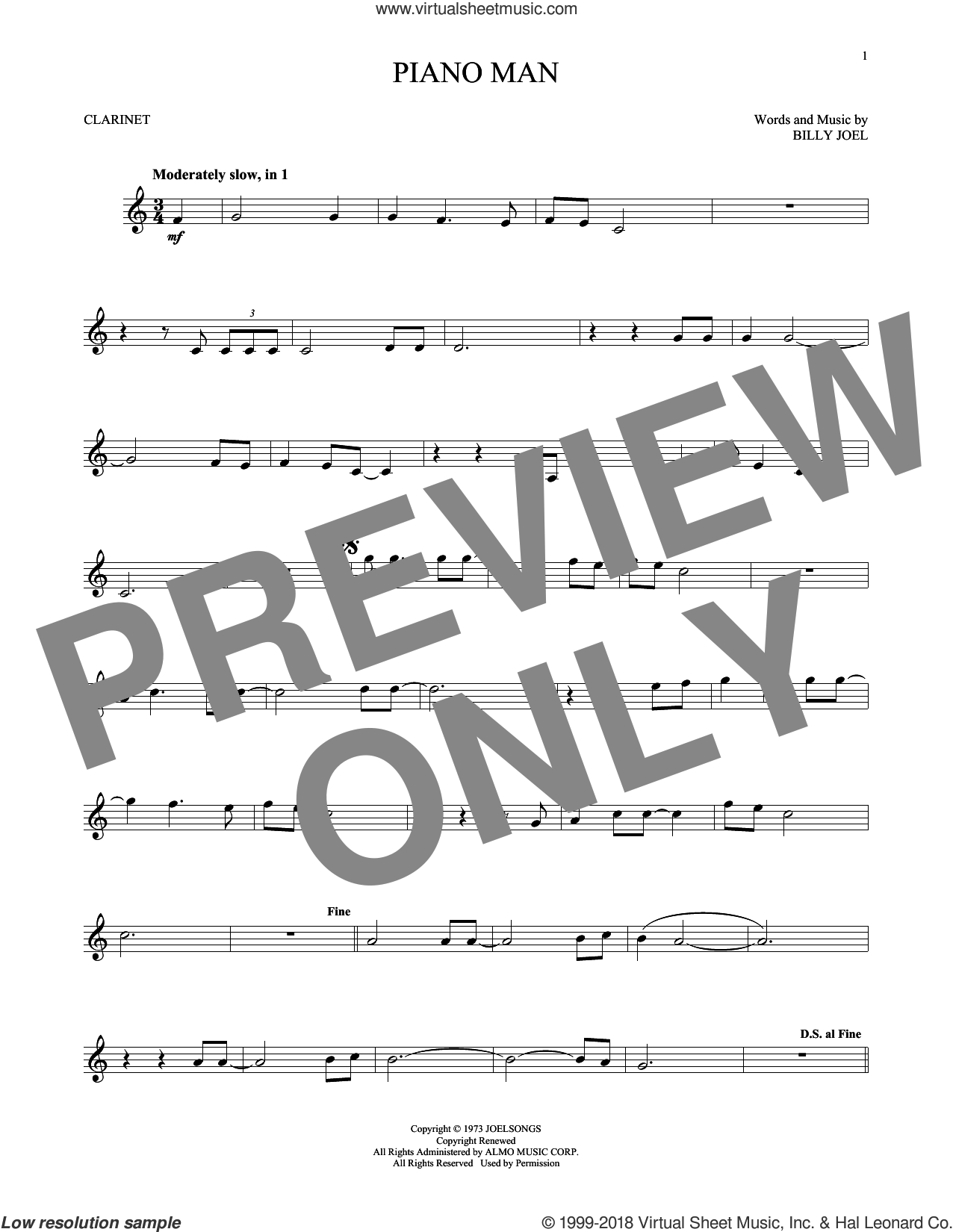 Piano Man sheet music for clarinet solo by Billy Joel, intermediate