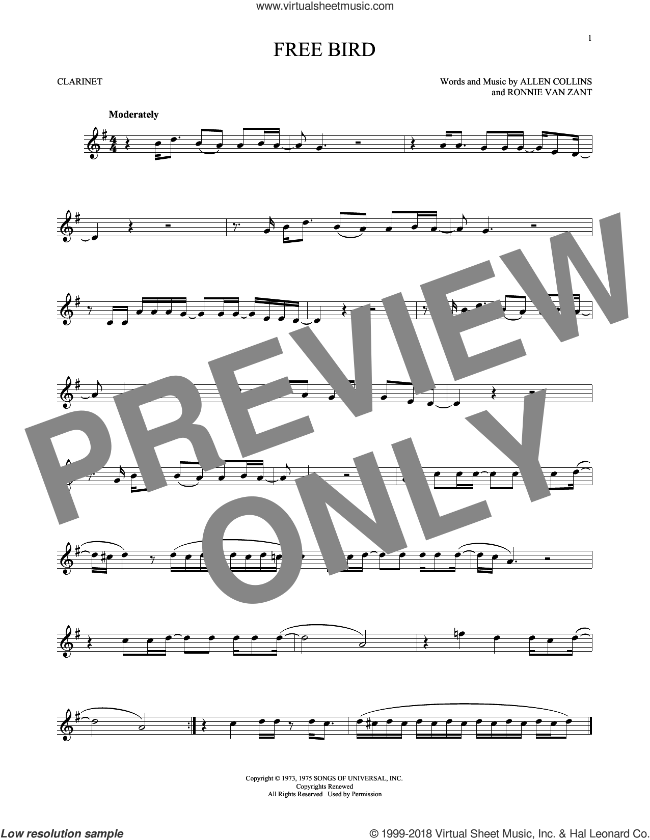 Free Bird sheet music for clarinet solo by Lynyrd Skynyrd, Allen Collins and Ronnie Van Zant, intermediate skill level