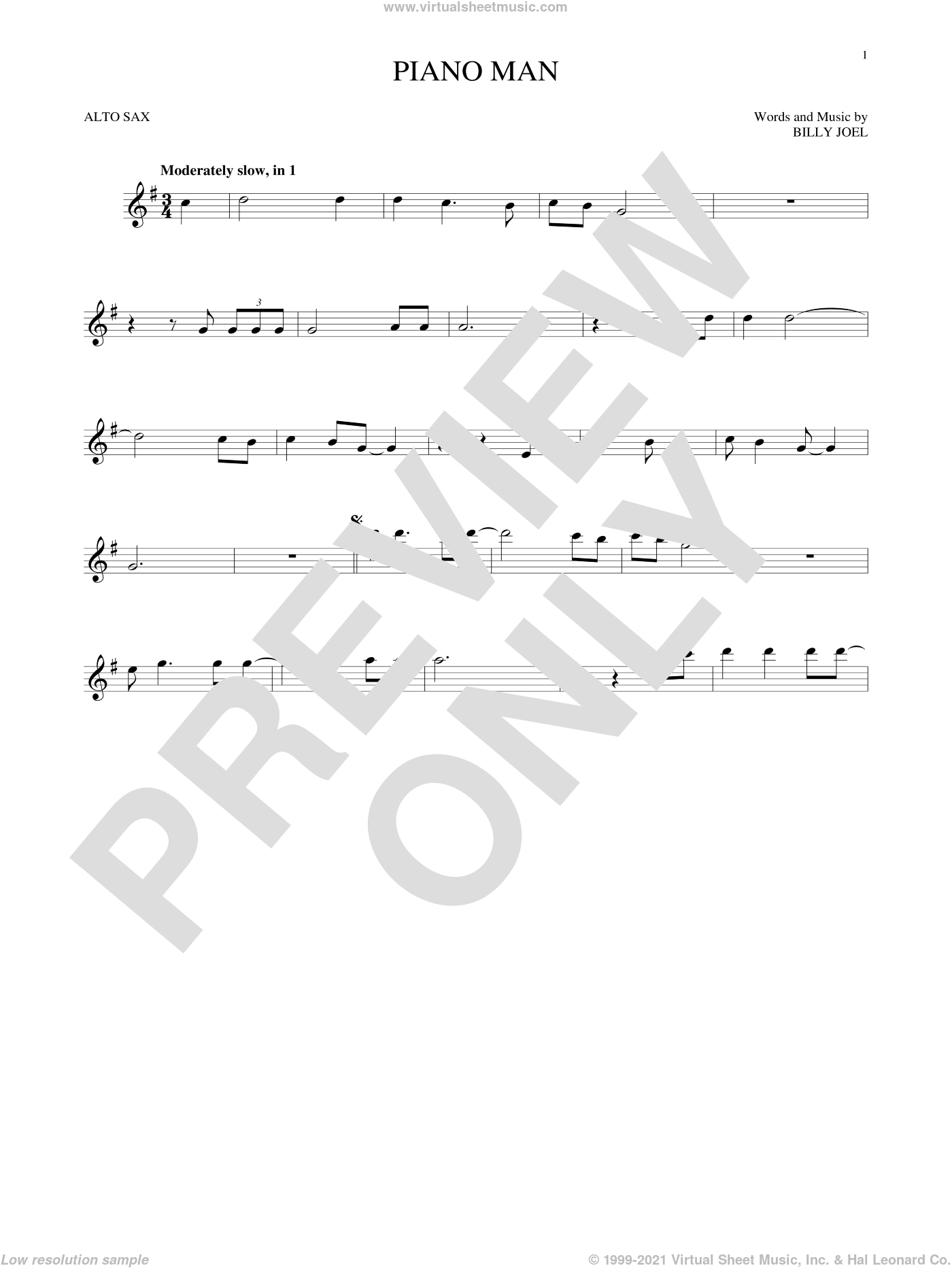 Piano Man sheet music for alto saxophone solo by Billy Joel, intermediate alto saxophone. Score Image Preview.