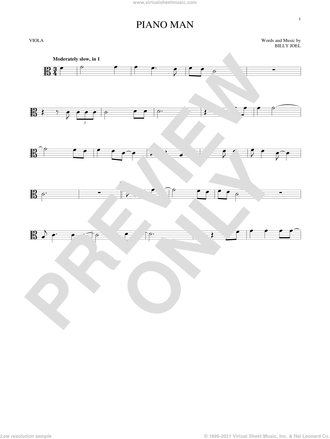 Piano Man sheet music for viola solo by Billy Joel, intermediate skill level