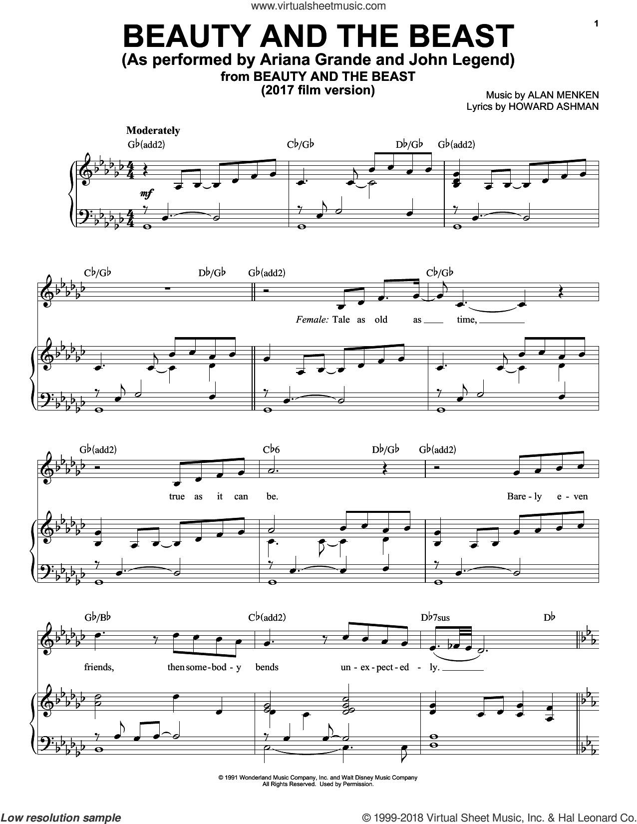 Beauty And The Beast sheet music for voice, piano or guitar by Ariana Grande & John Legend, Emma Thompson, Alan Menken and Howard Ashman, intermediate skill level