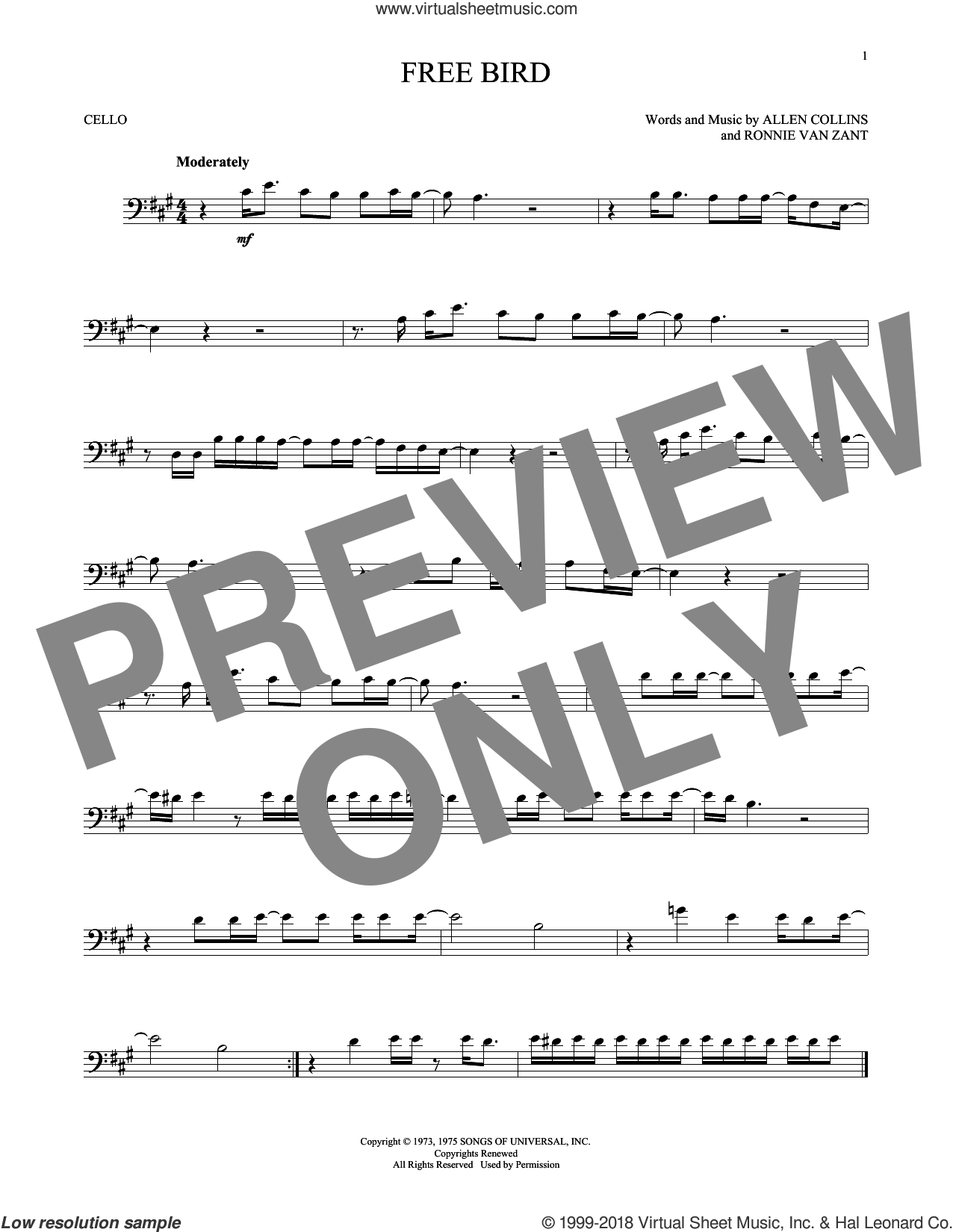 Free Bird sheet music for cello solo by Lynyrd Skynyrd, Allen Collins and Ronnie Van Zant, intermediate skill level
