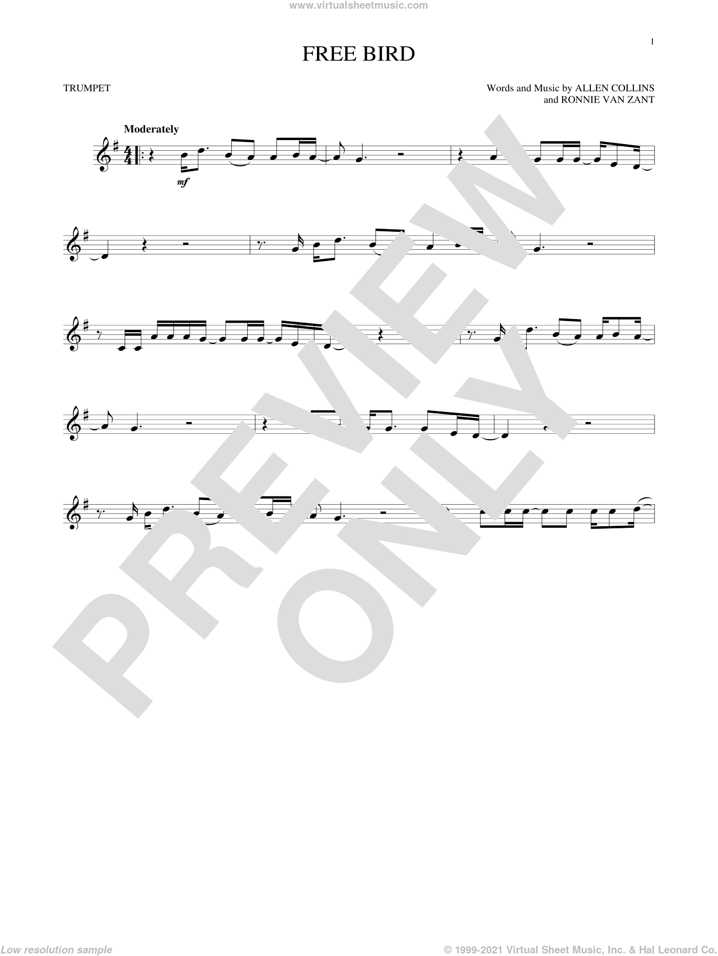 Free Bird sheet music for trumpet solo by Ronnie Van Zant, Lynyrd Skynyrd and Allen Collins. Score Image Preview.