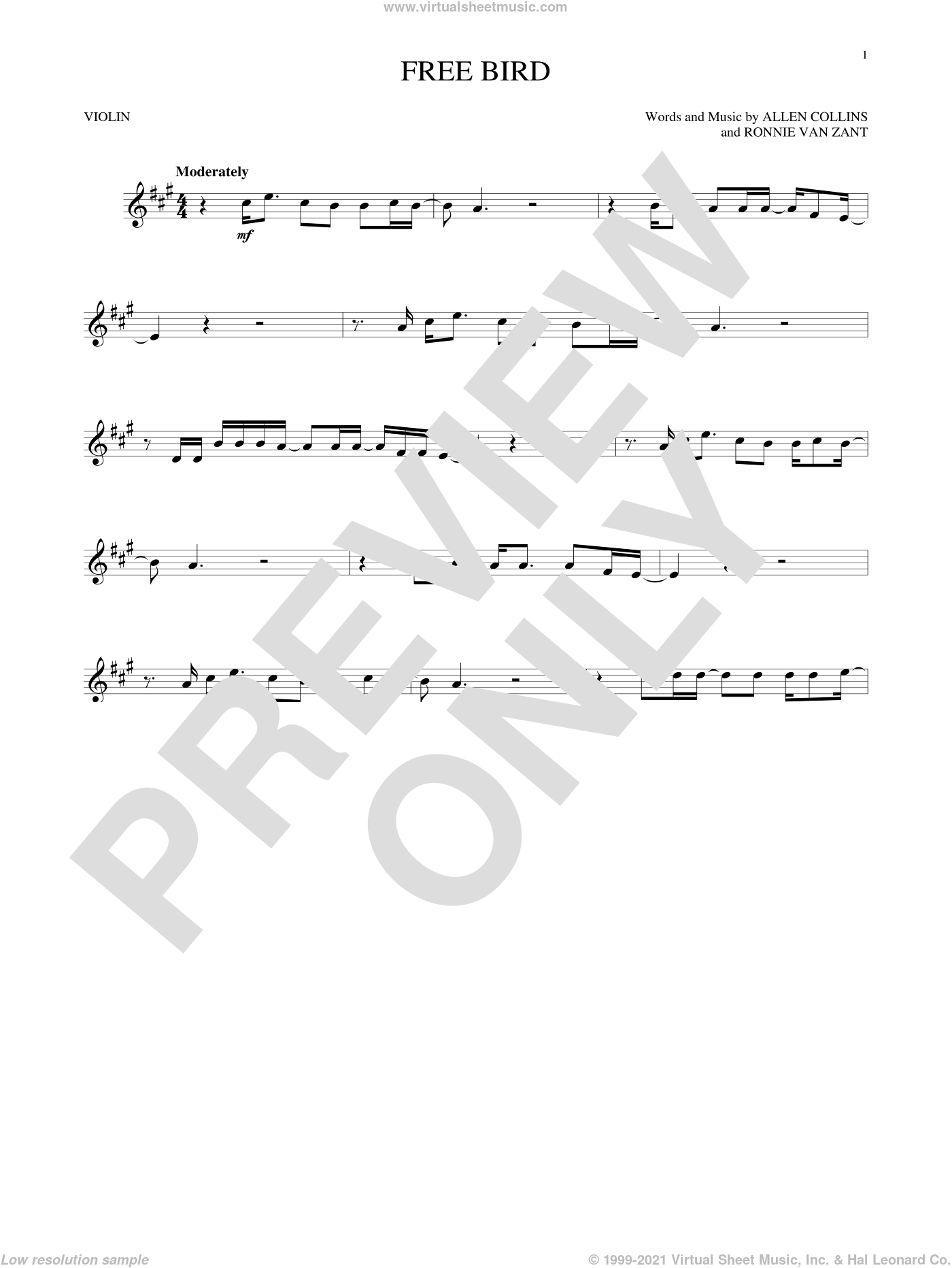 Free Bird sheet music for violin solo by Lynyrd Skynyrd, Allen Collins and Ronnie Van Zant, intermediate skill level