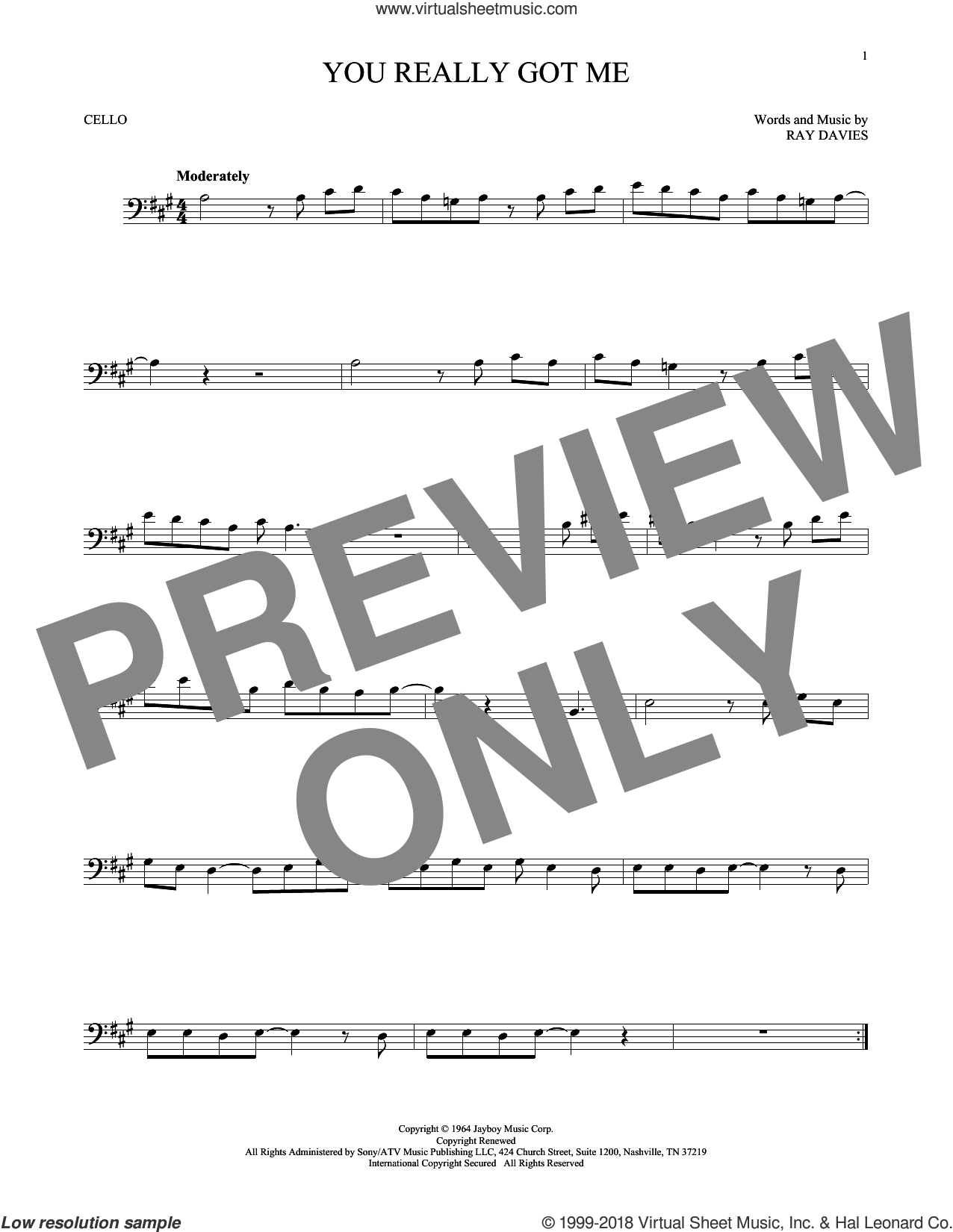 You Really Got Me sheet music for cello solo by The Kinks, Edward Van Halen and Ray Davies, intermediate skill level