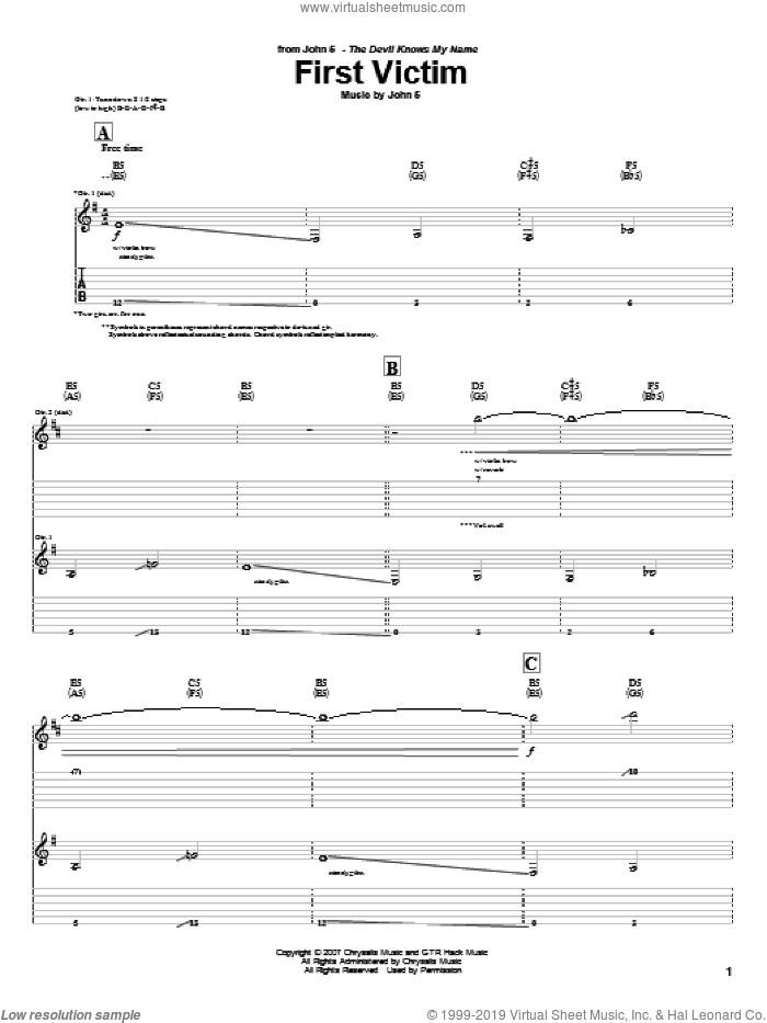 First Victim sheet music for guitar (tablature) by John5. Score Image Preview.