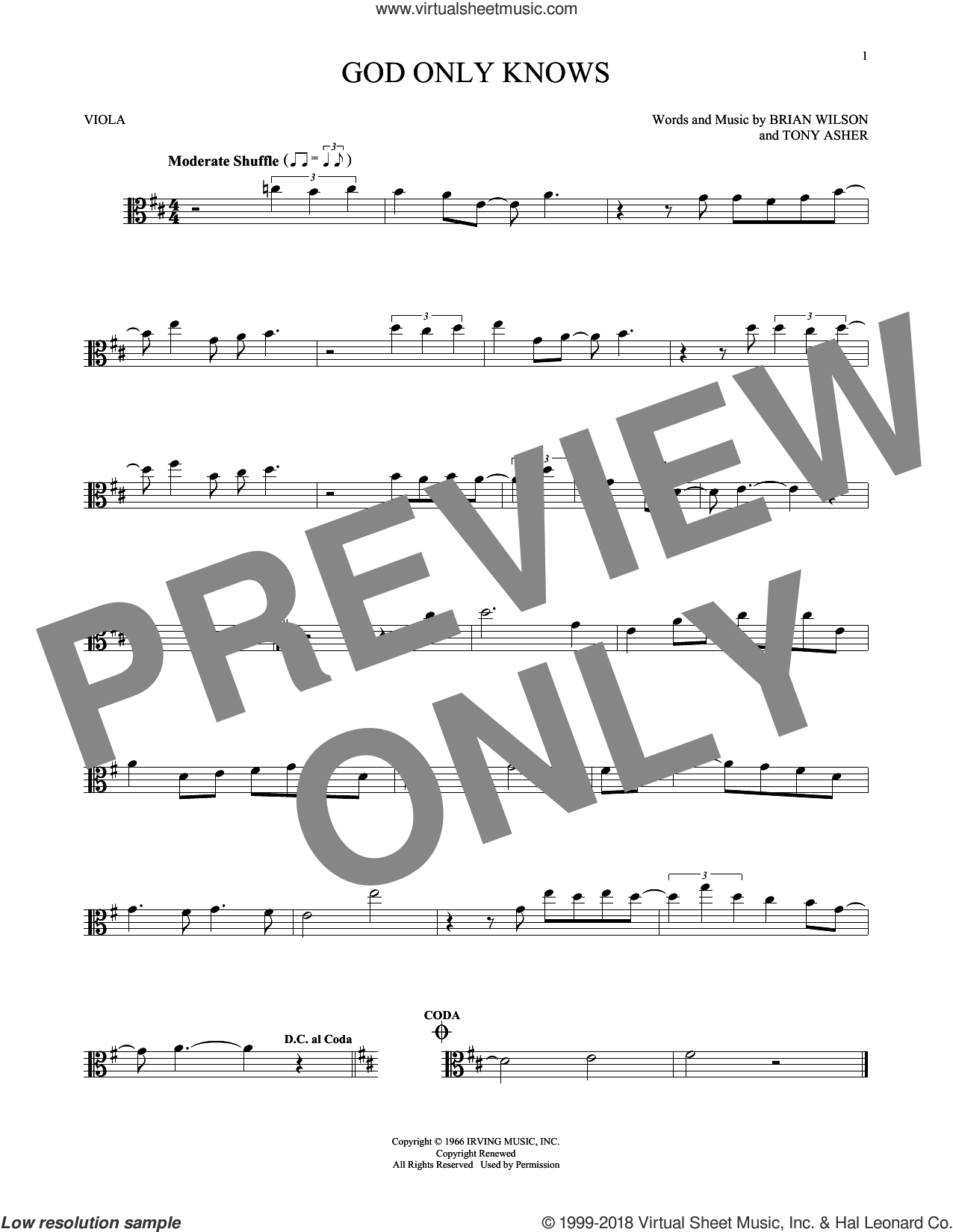 God Only Knows sheet music for viola solo by Tony Asher, The Beach Boys and Brian Wilson. Score Image Preview.