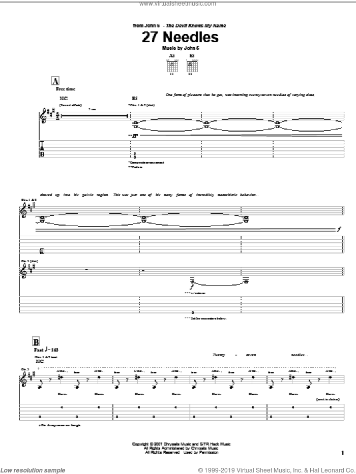 27 Needles sheet music for guitar (tablature) by John5, intermediate. Score Image Preview.