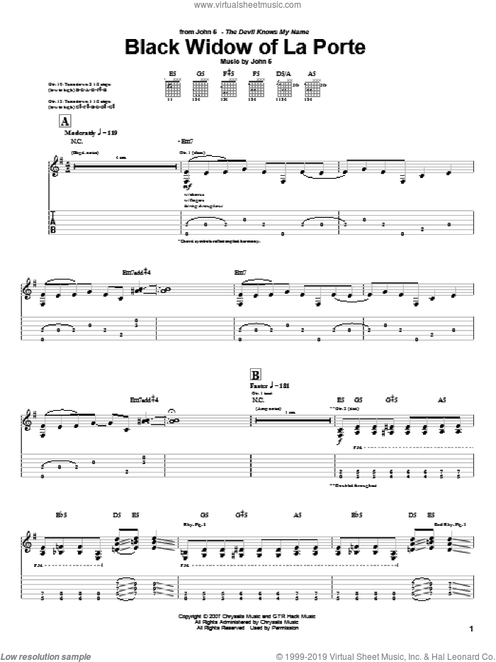 Black Widow Of La Porte sheet music for guitar (tablature) by John5