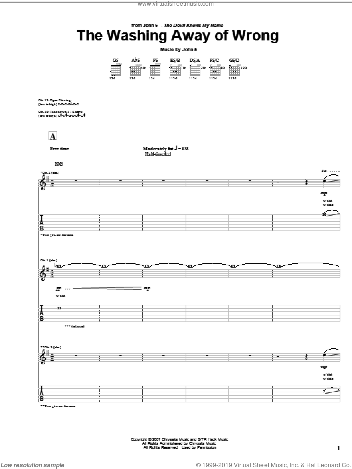 The Washing Away Of Wrong sheet music for guitar (tablature) by John5. Score Image Preview.