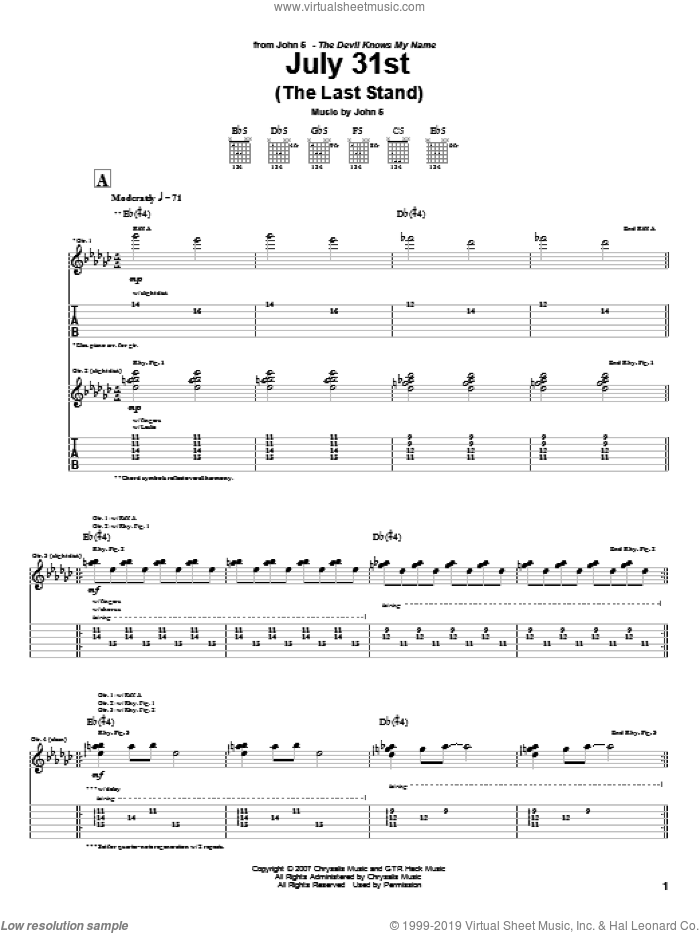 July 31st (The Last Stand) sheet music for guitar (tablature) by John5. Score Image Preview.