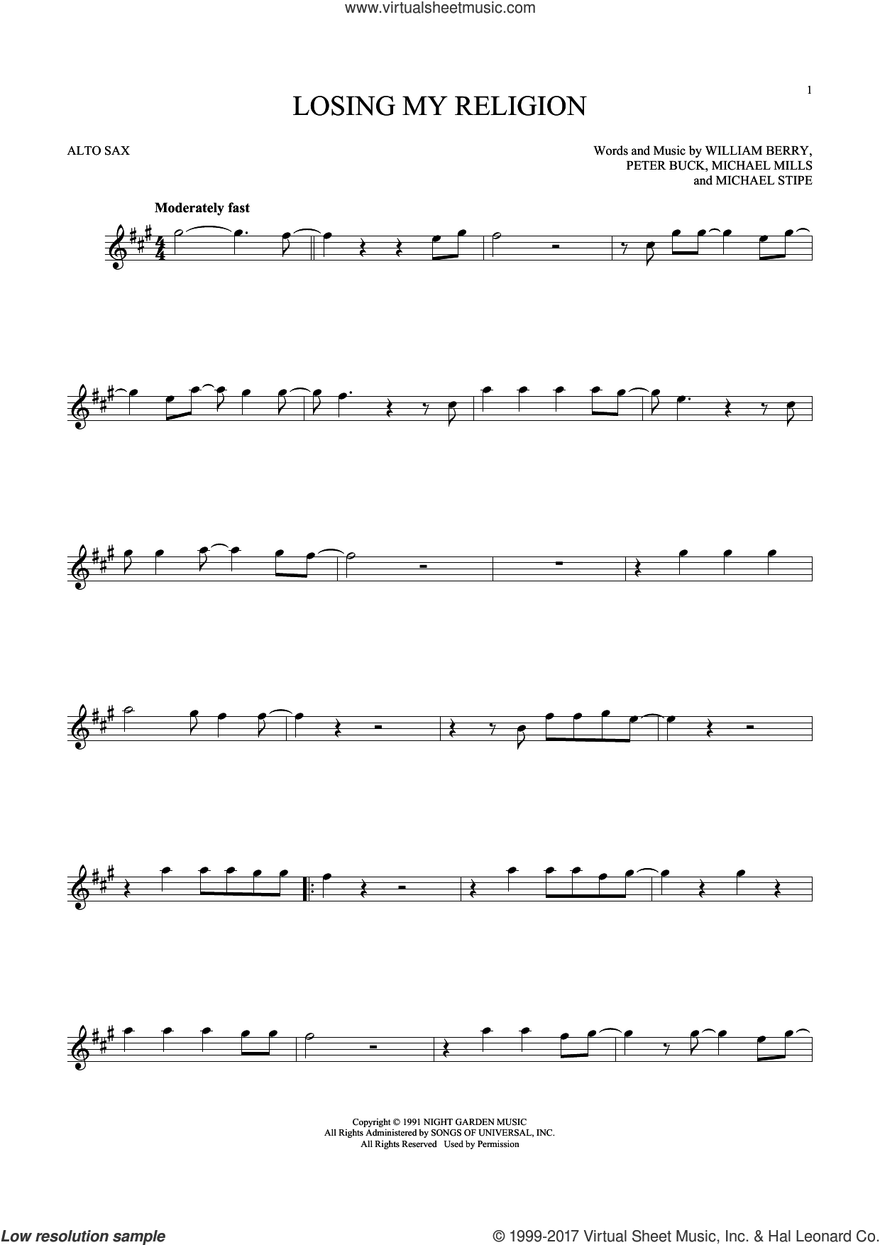 Losing My Religion sheet music for alto saxophone solo by R.E.M., Michael Stipe, Mike Mills, Peter Buck and William Berry, intermediate skill level