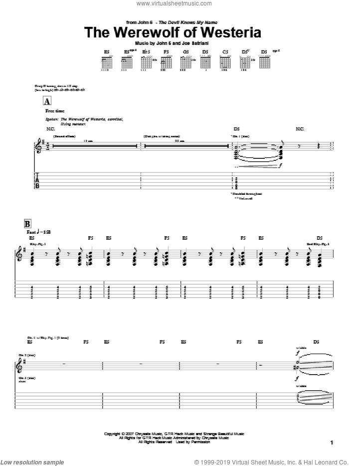 The Werewolf Of Westeria sheet music for guitar (tablature) by Joe Satriani and John5, intermediate guitar (tablature). Score Image Preview.